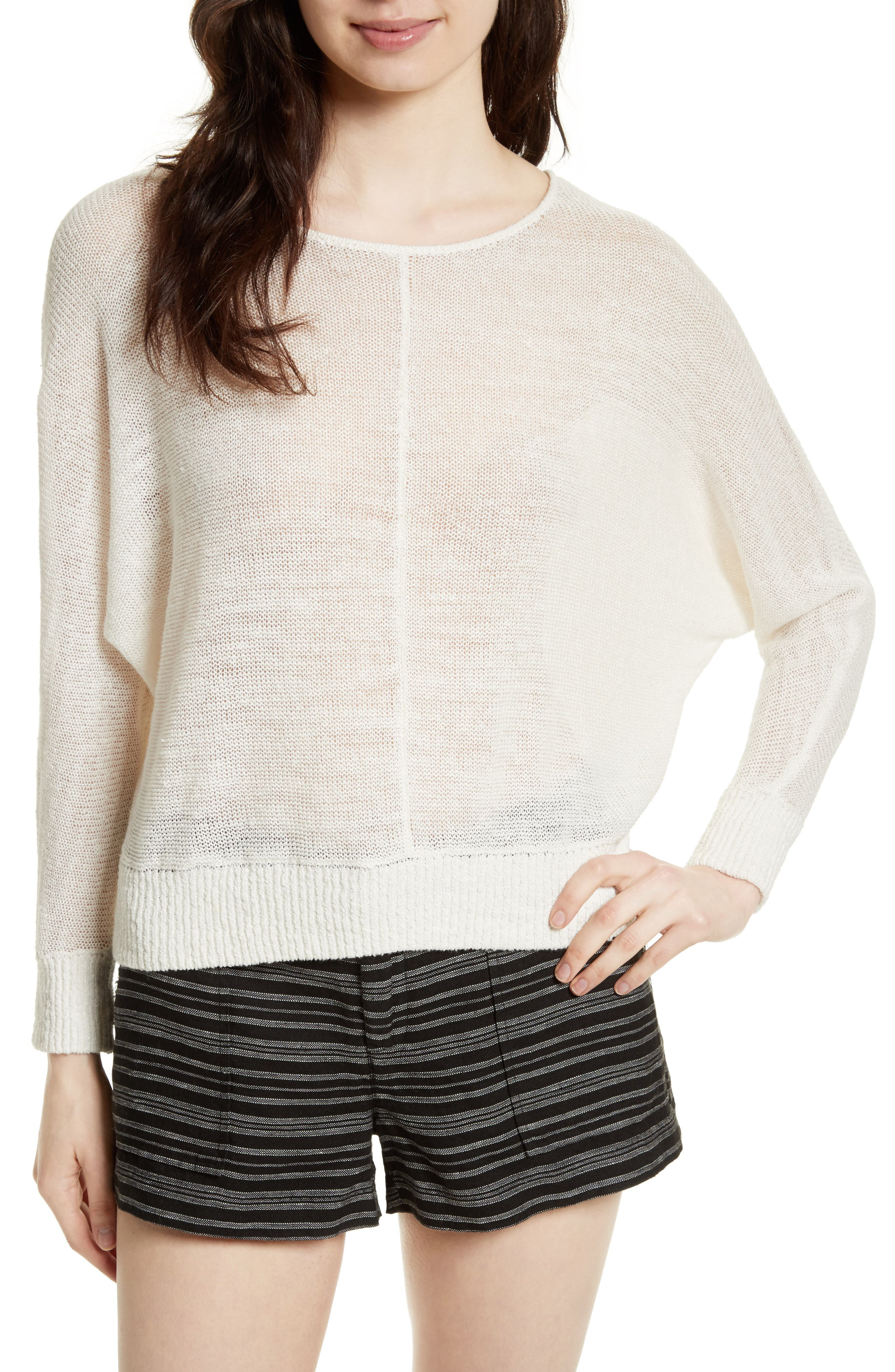 Clady Linen Open Knit Pullover,                         Main,                         color, 114
