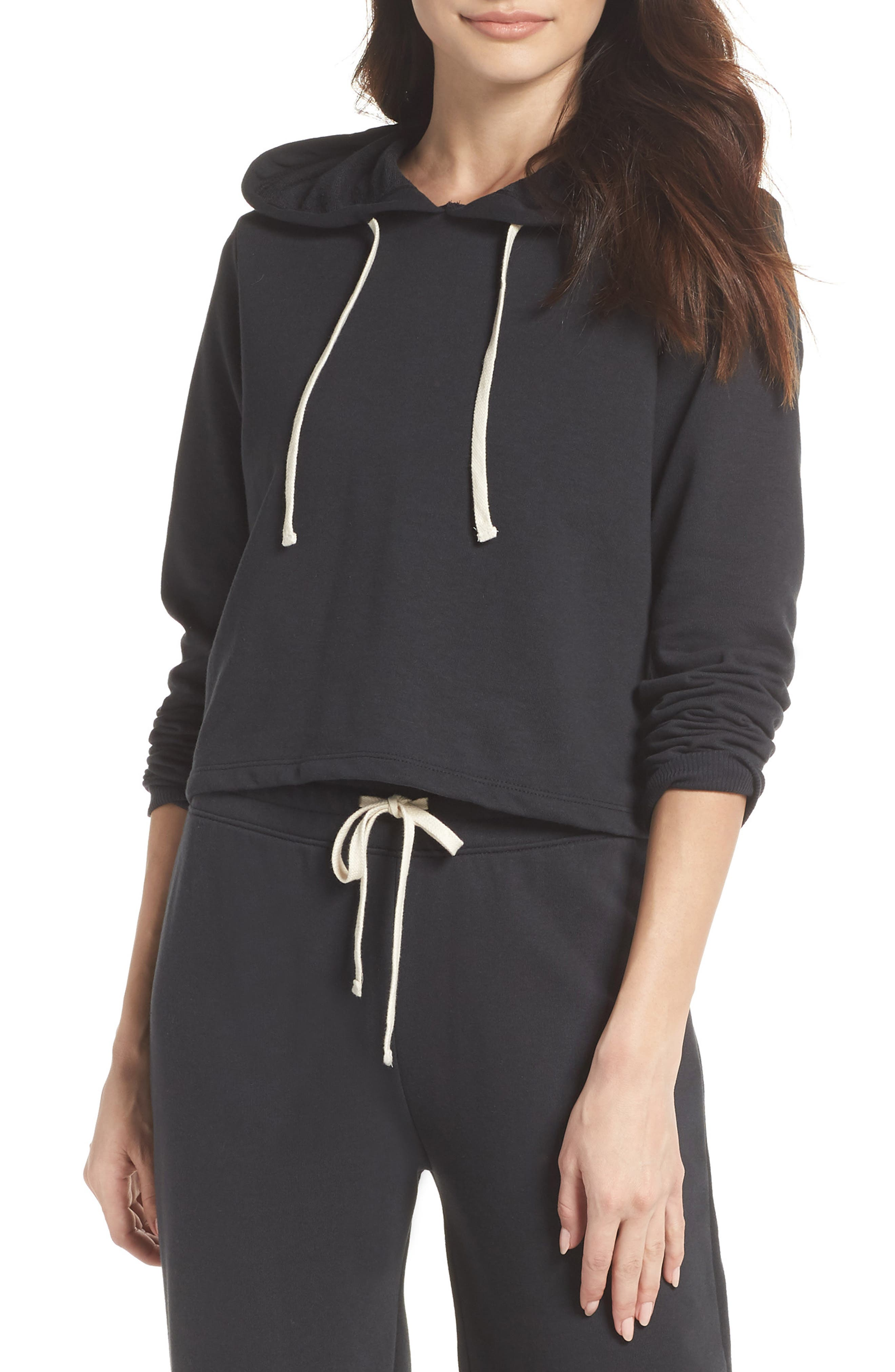 Cropped Terry Hoodie,                         Main,                         color, 001