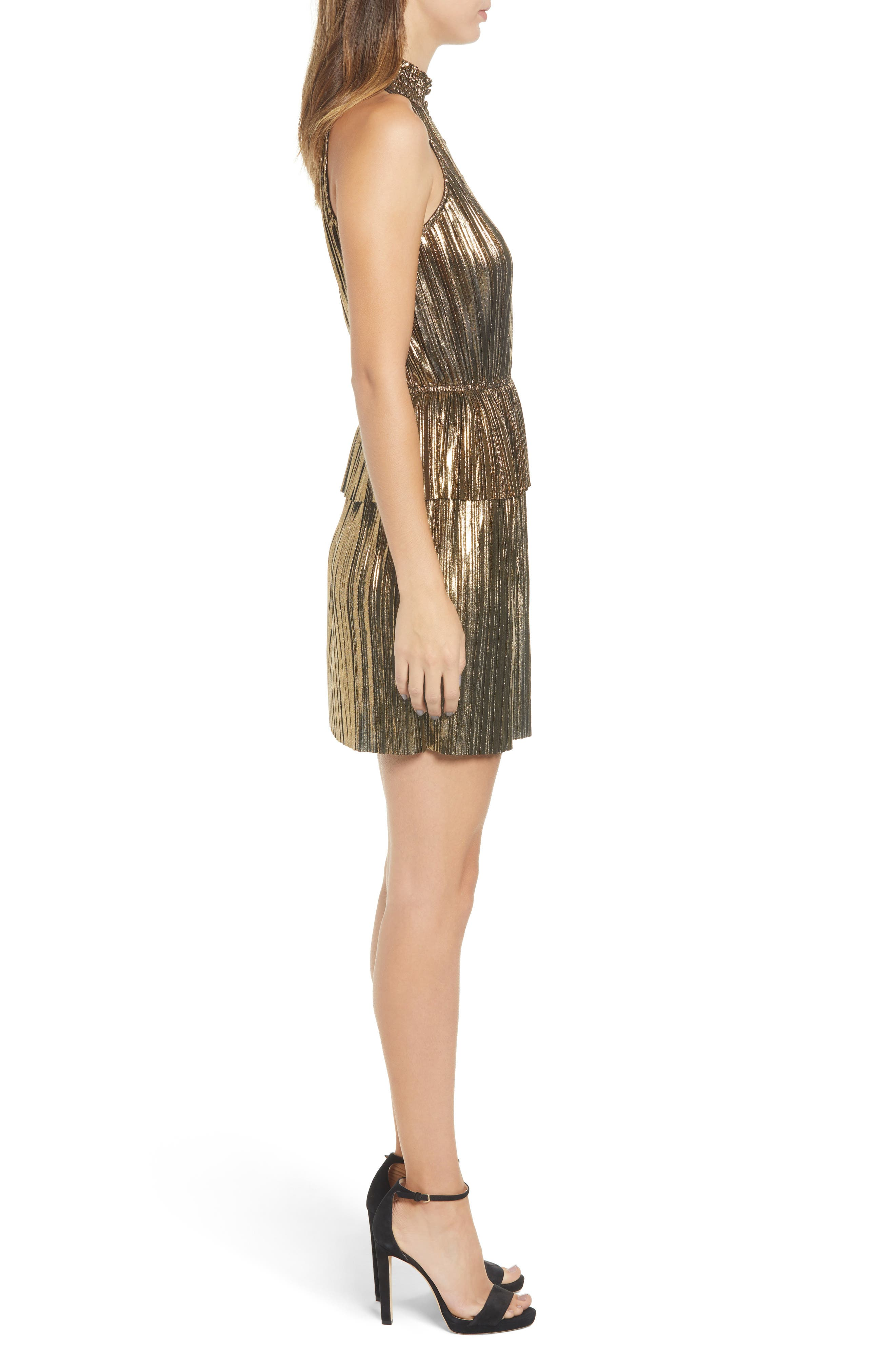 Metallic Plissé Peplum Dress,                             Alternate thumbnail 3, color,                             BRONZE