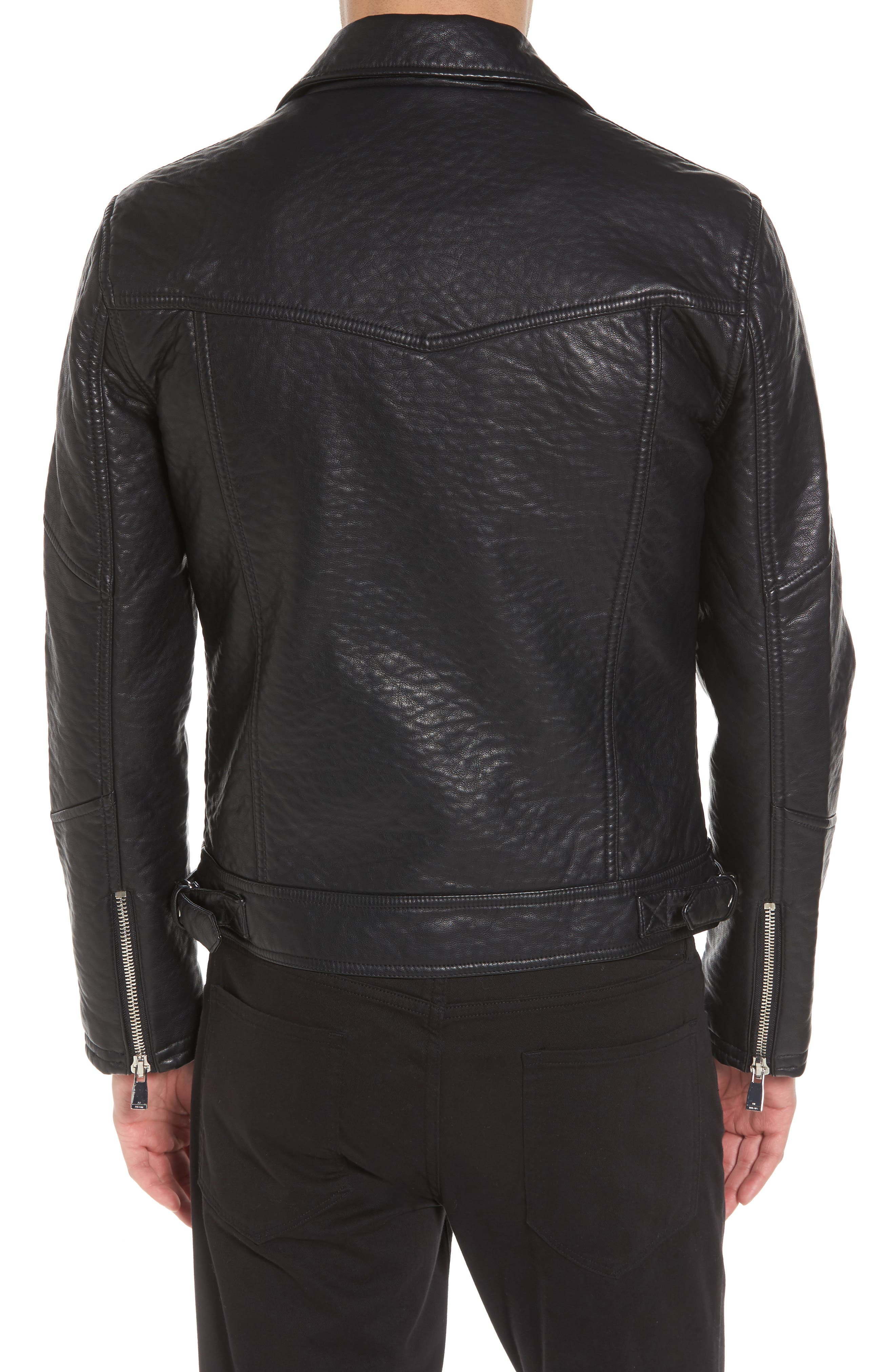 Elmut Faux Leather Biker Jacket,                             Alternate thumbnail 2, color,                             001