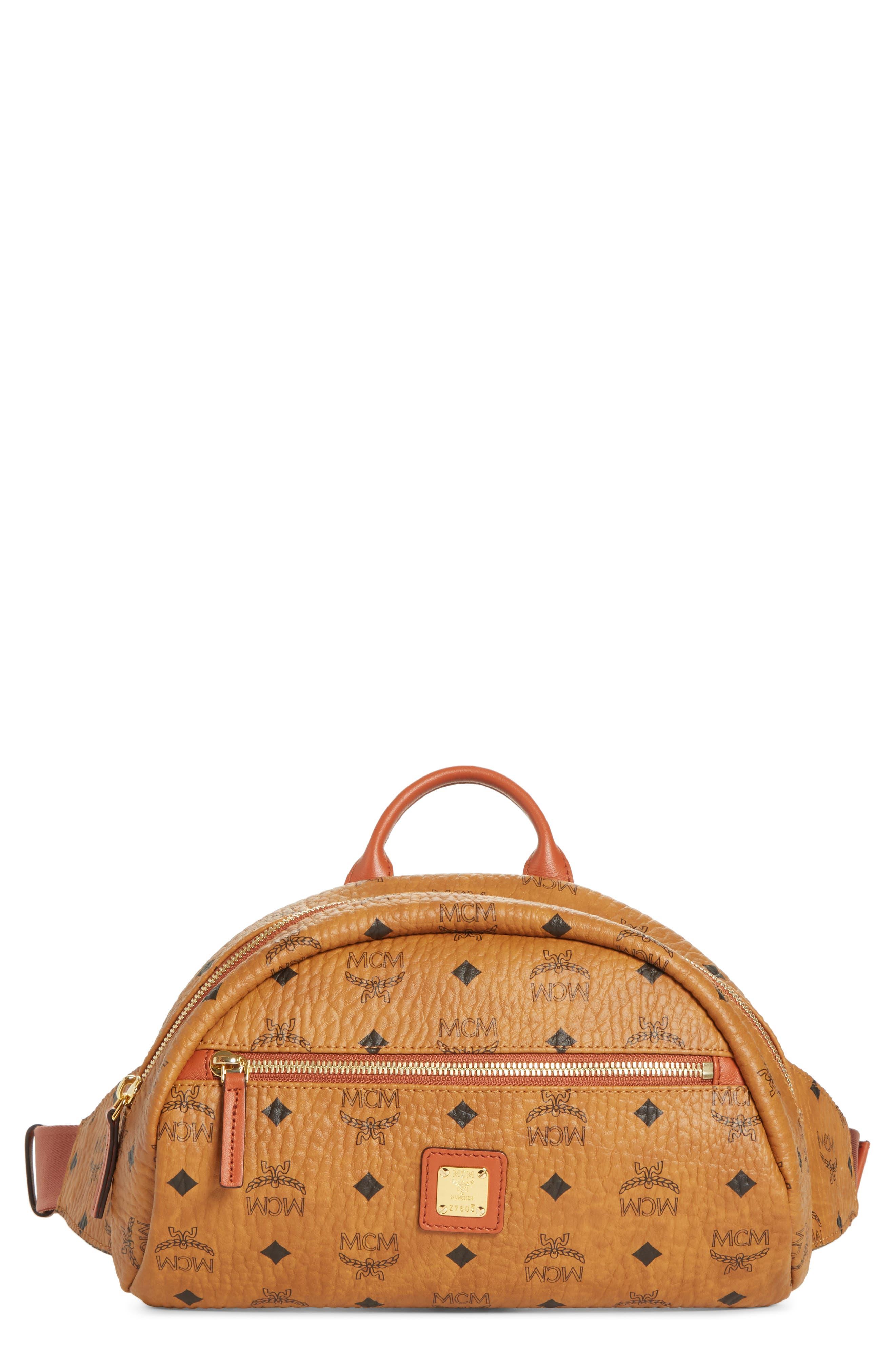 Small Vintage Visetos Coated Canvas Belt Bag,                         Main,                         color, COGNAC