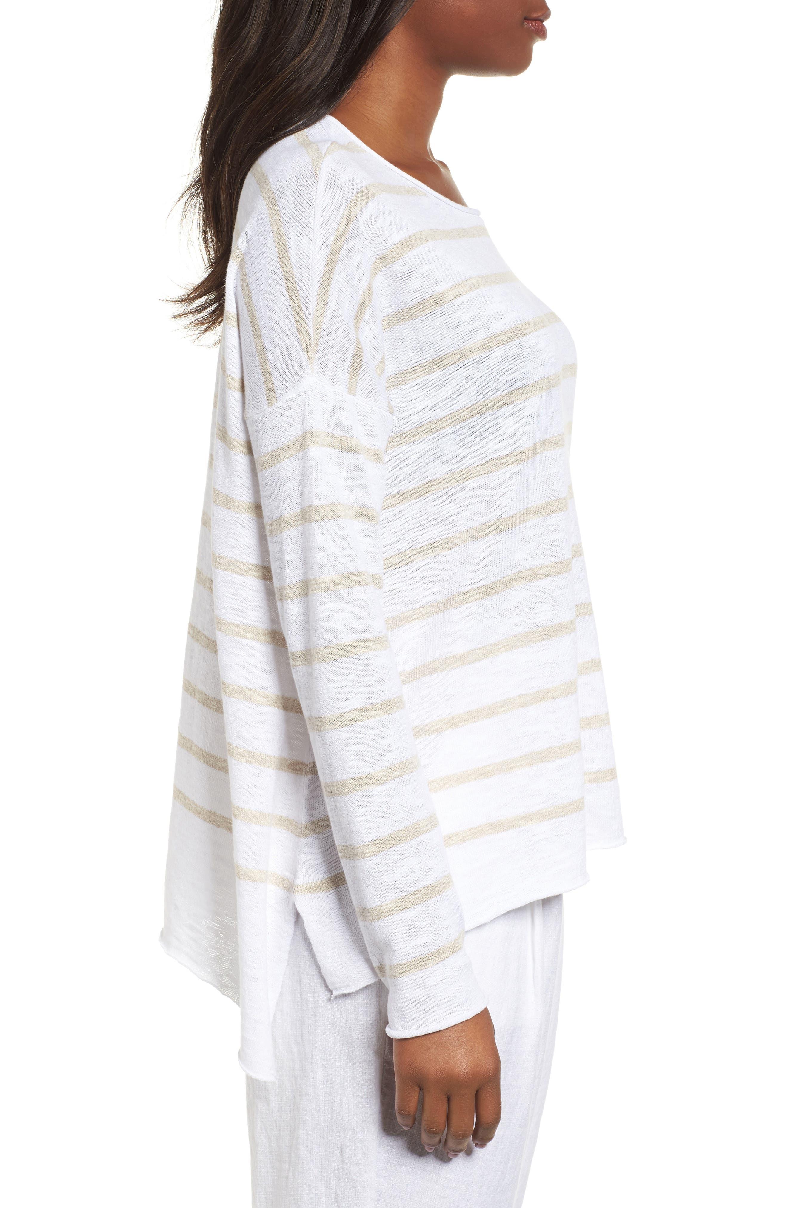 Stripe Organic Linen & Cotton Sweater,                             Alternate thumbnail 3, color,                             138