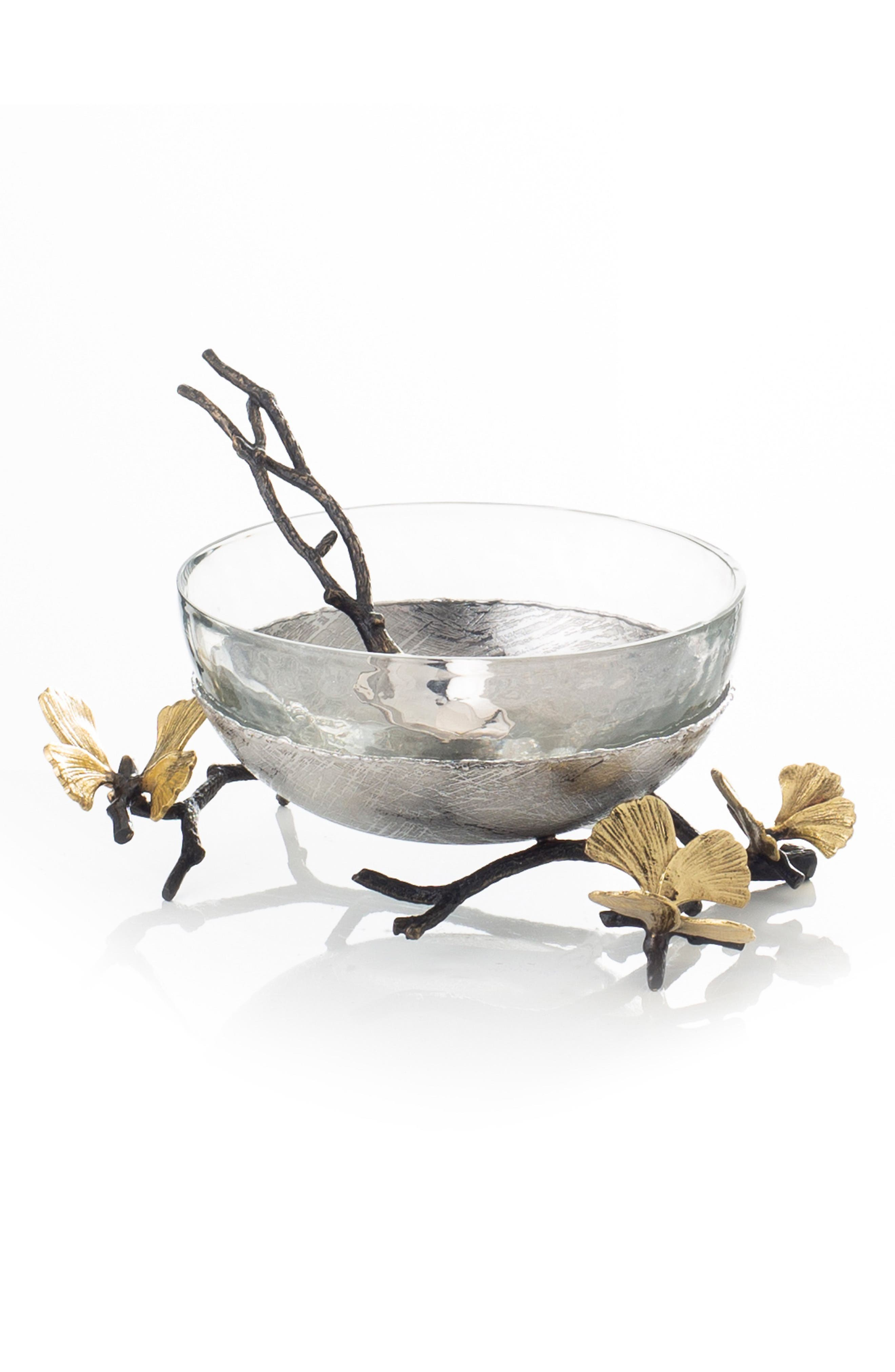 MICHAEL ARAM Butterfly Ginkgo Glass Nut Dish, Main, color, SILVER