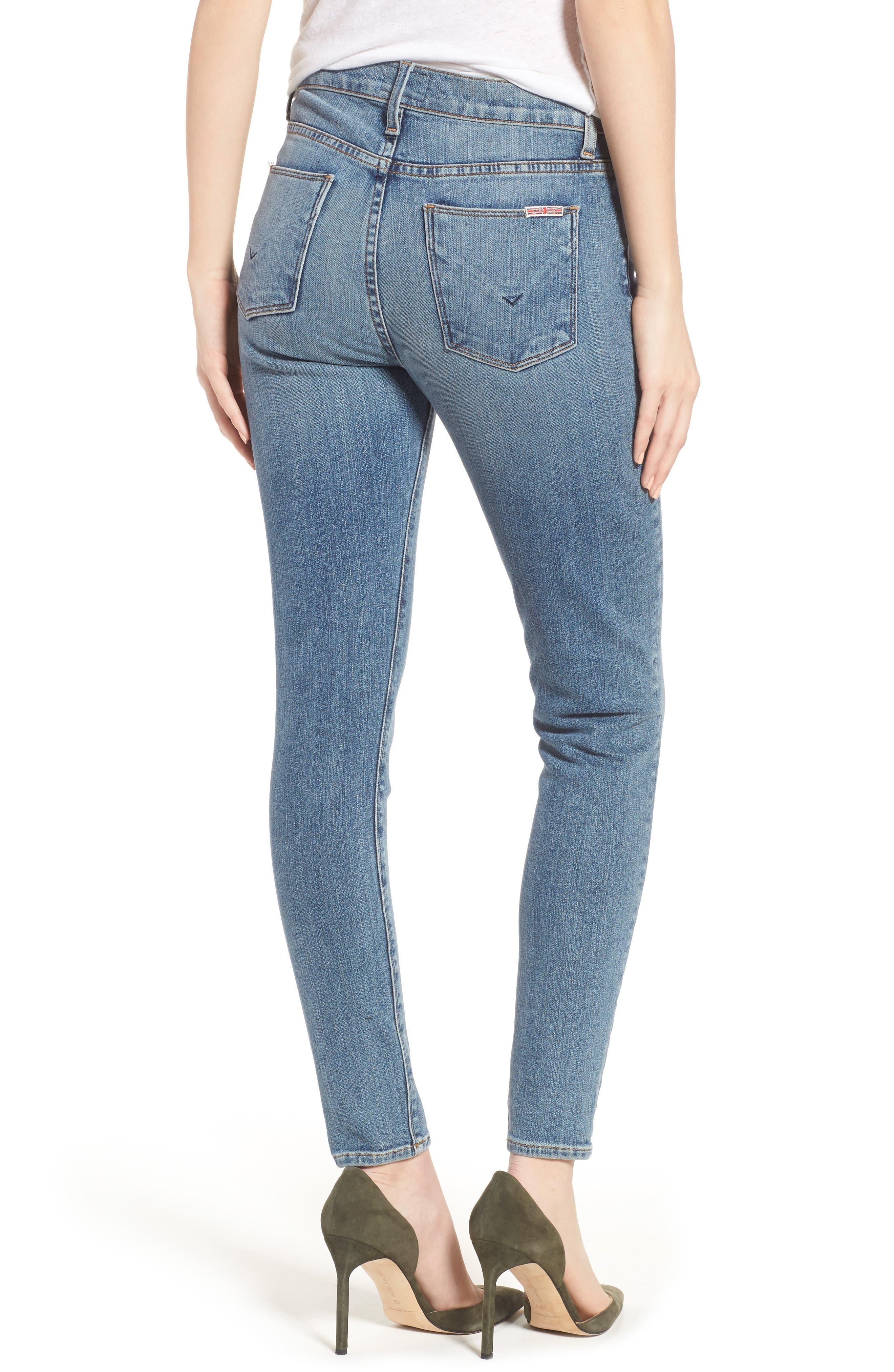 Barbara High Waist Ankle Super Skinny Jeans,                             Alternate thumbnail 4, color,