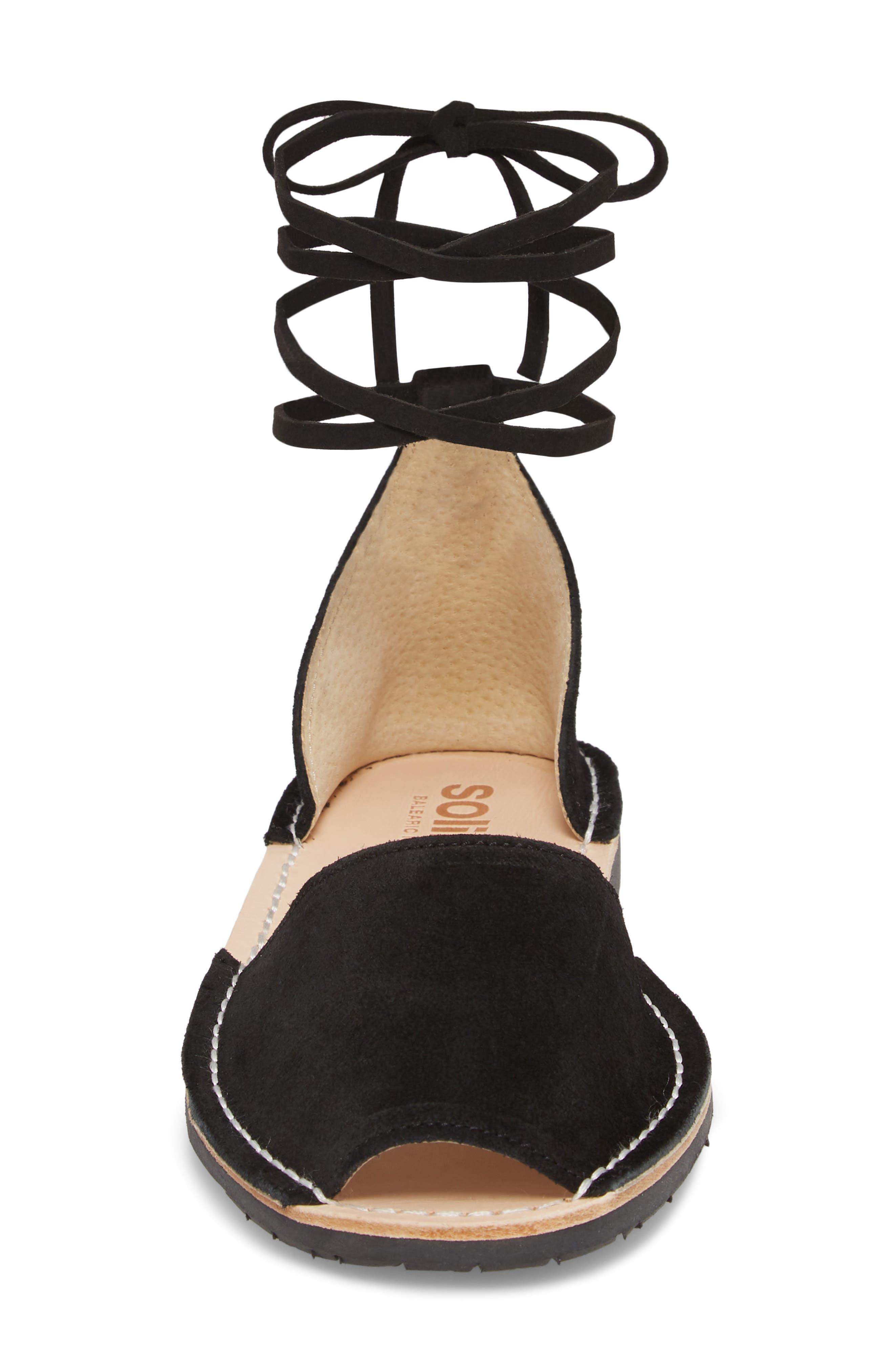 Ankle Tie Sandal,                             Alternate thumbnail 4, color,                             BLACK