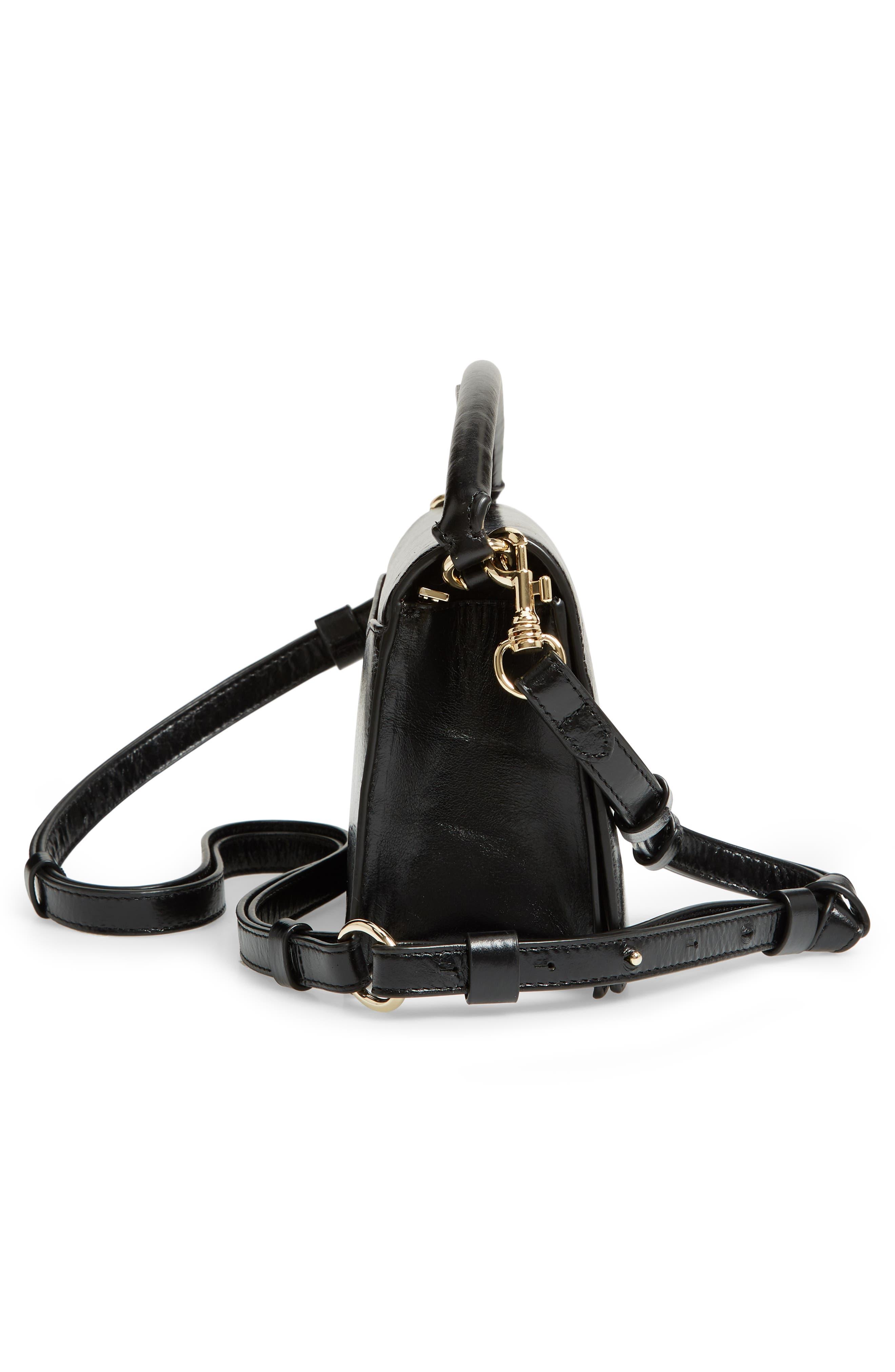 DVF Bonne Soirée Leather Top Handle Bag,                             Alternate thumbnail 5, color,                             001