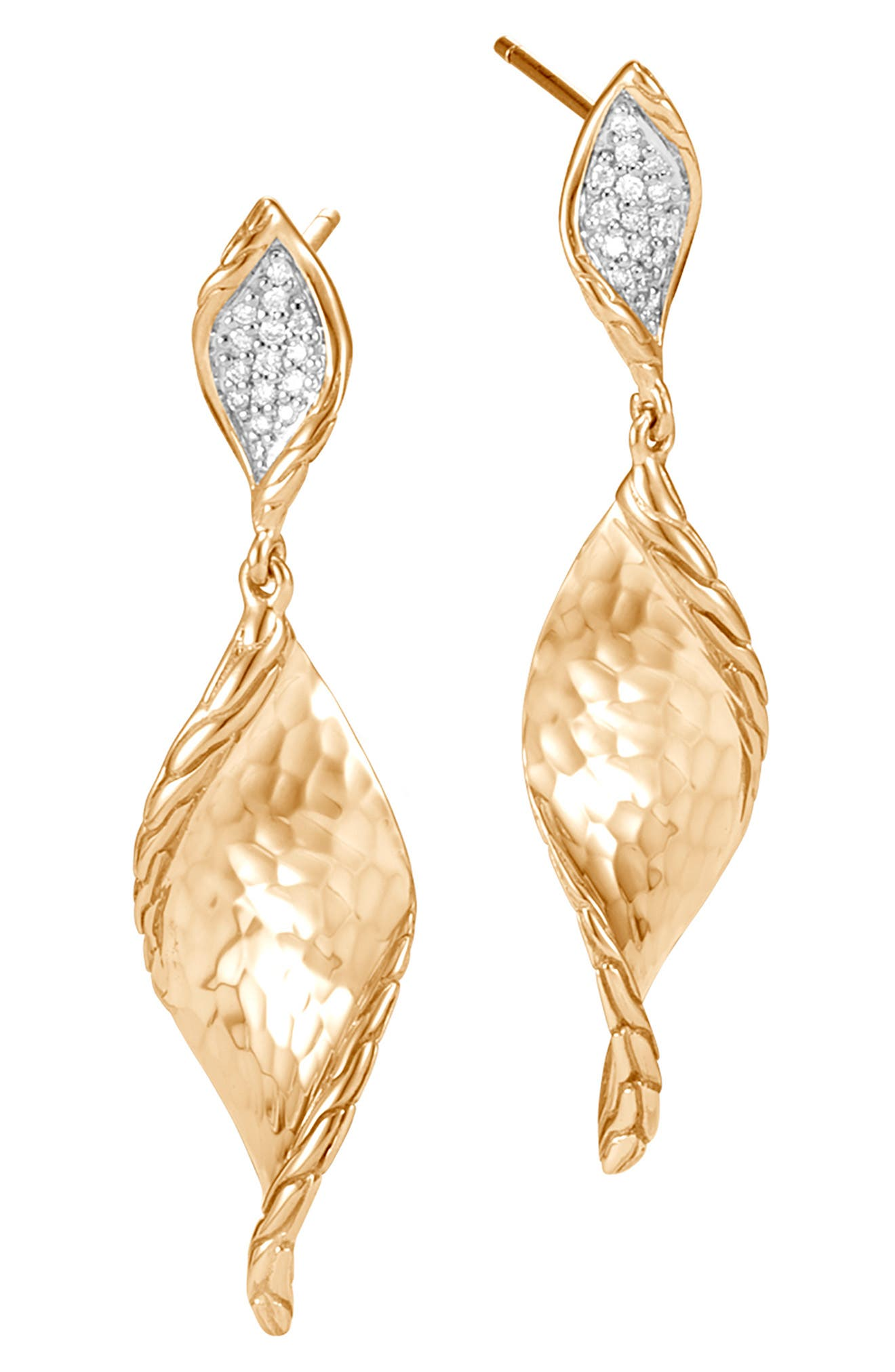 Classic Chain Hammered Gold Drop Earrings with Diamonds,                             Main thumbnail 1, color,