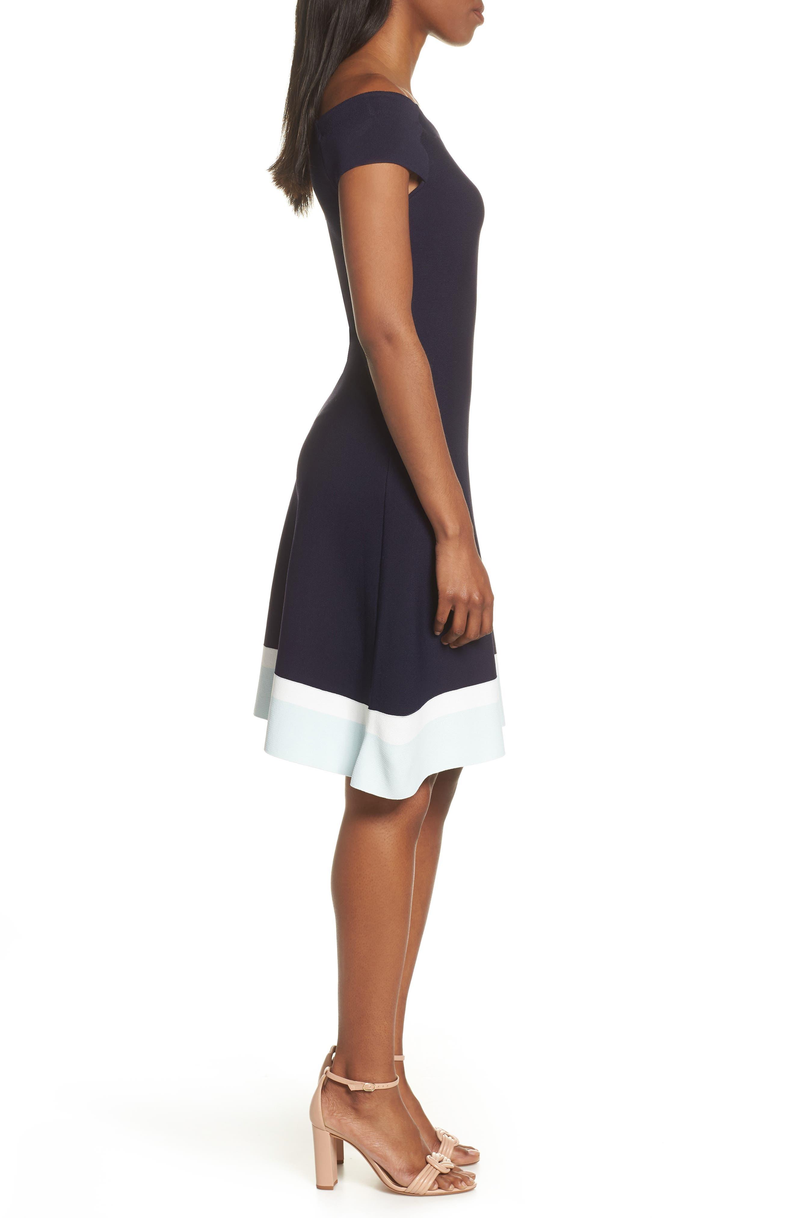 ELIZA J,                             Fit & Flare Knit Dress,                             Alternate thumbnail 4, color,                             BABY BLUE MULTI