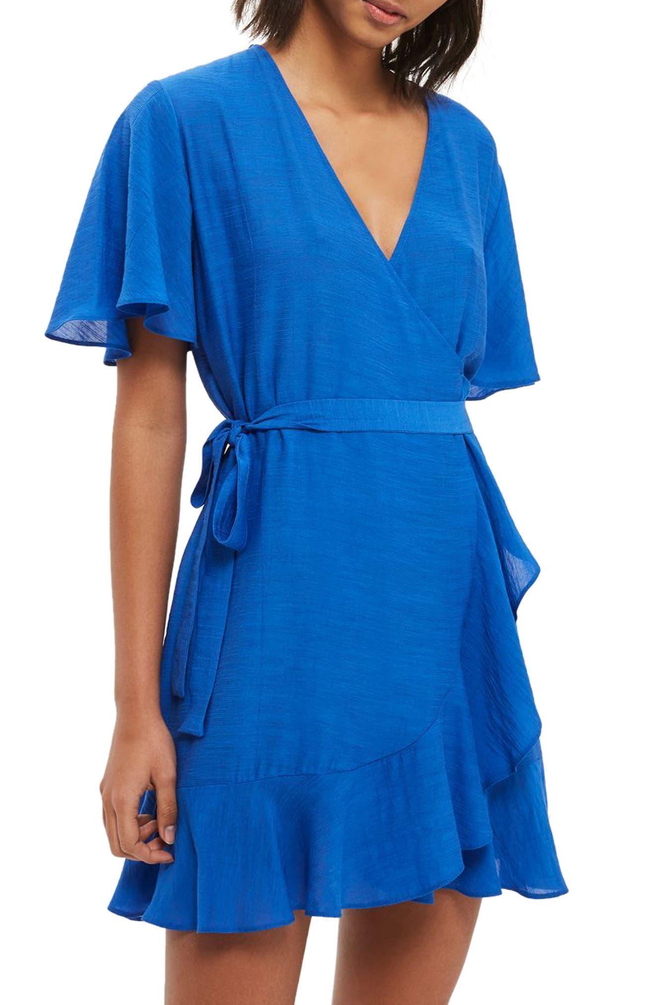 Ruffle Wrap Dress,                             Main thumbnail 1, color,                             400
