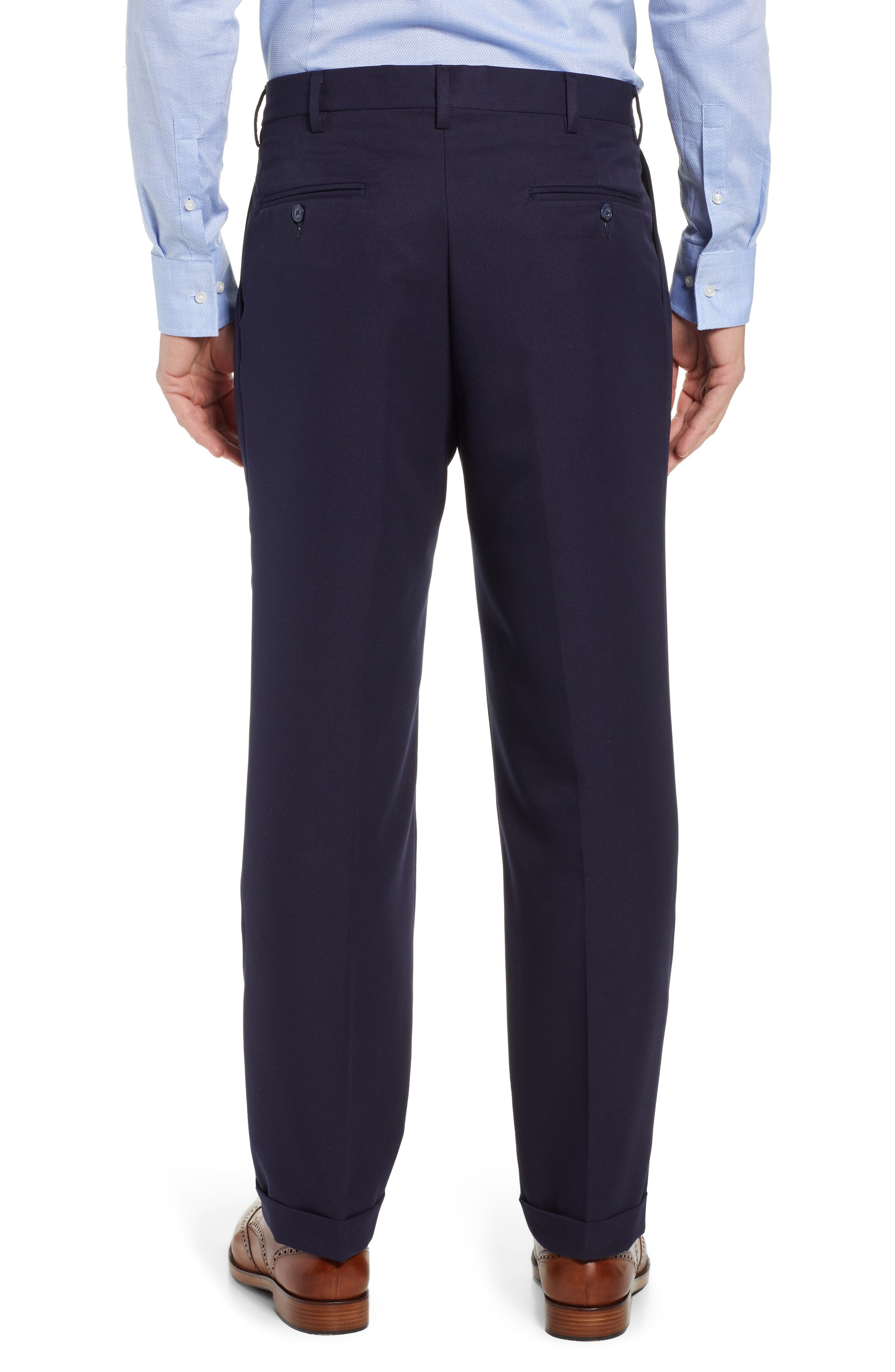 Classic Fit Pleated Microfiber Performance Trousers,                             Alternate thumbnail 2, color,                             NAVY