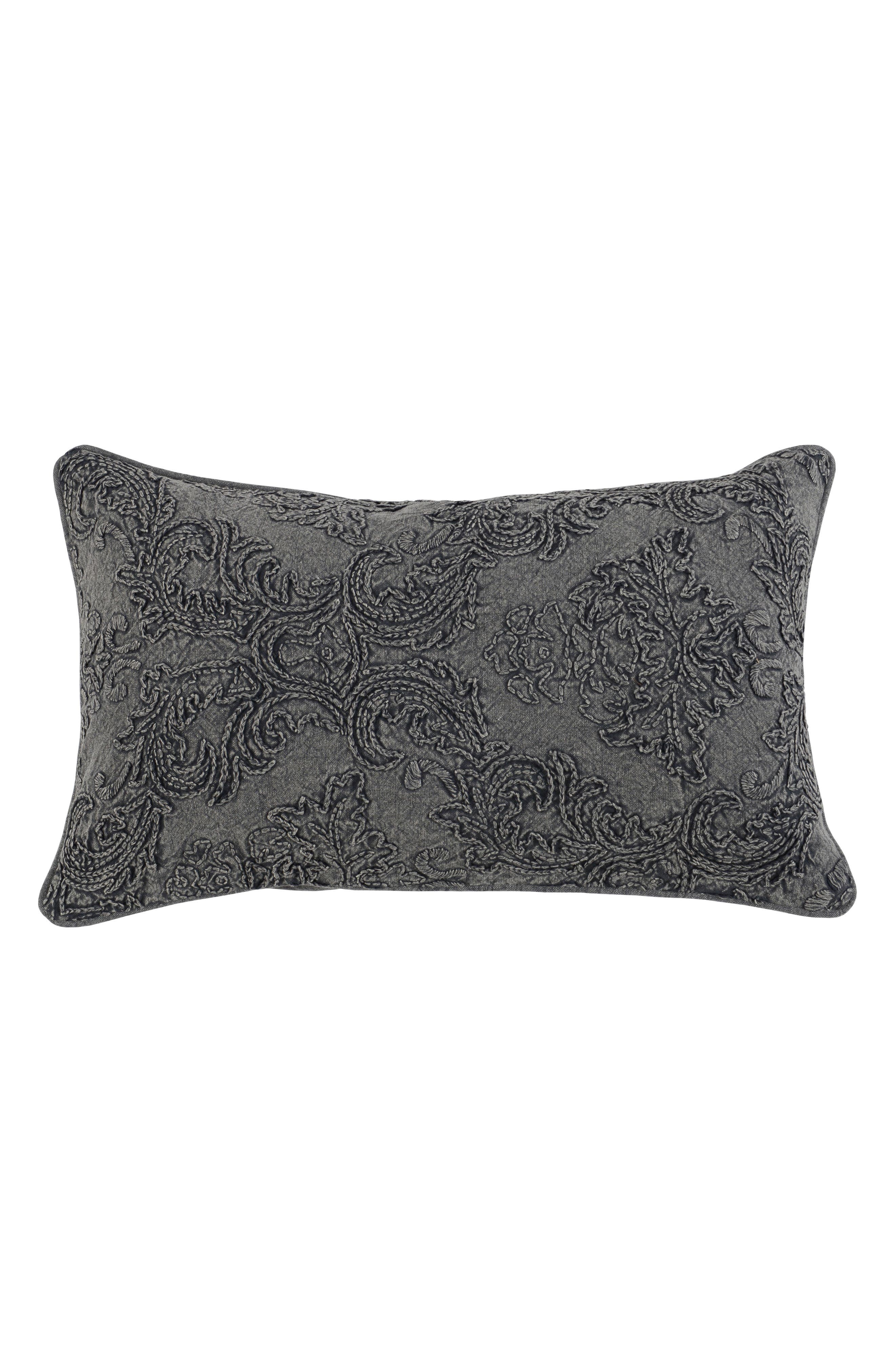 Perlita Linen Accent Pillow,                             Main thumbnail 1, color,                             CHARCOAL