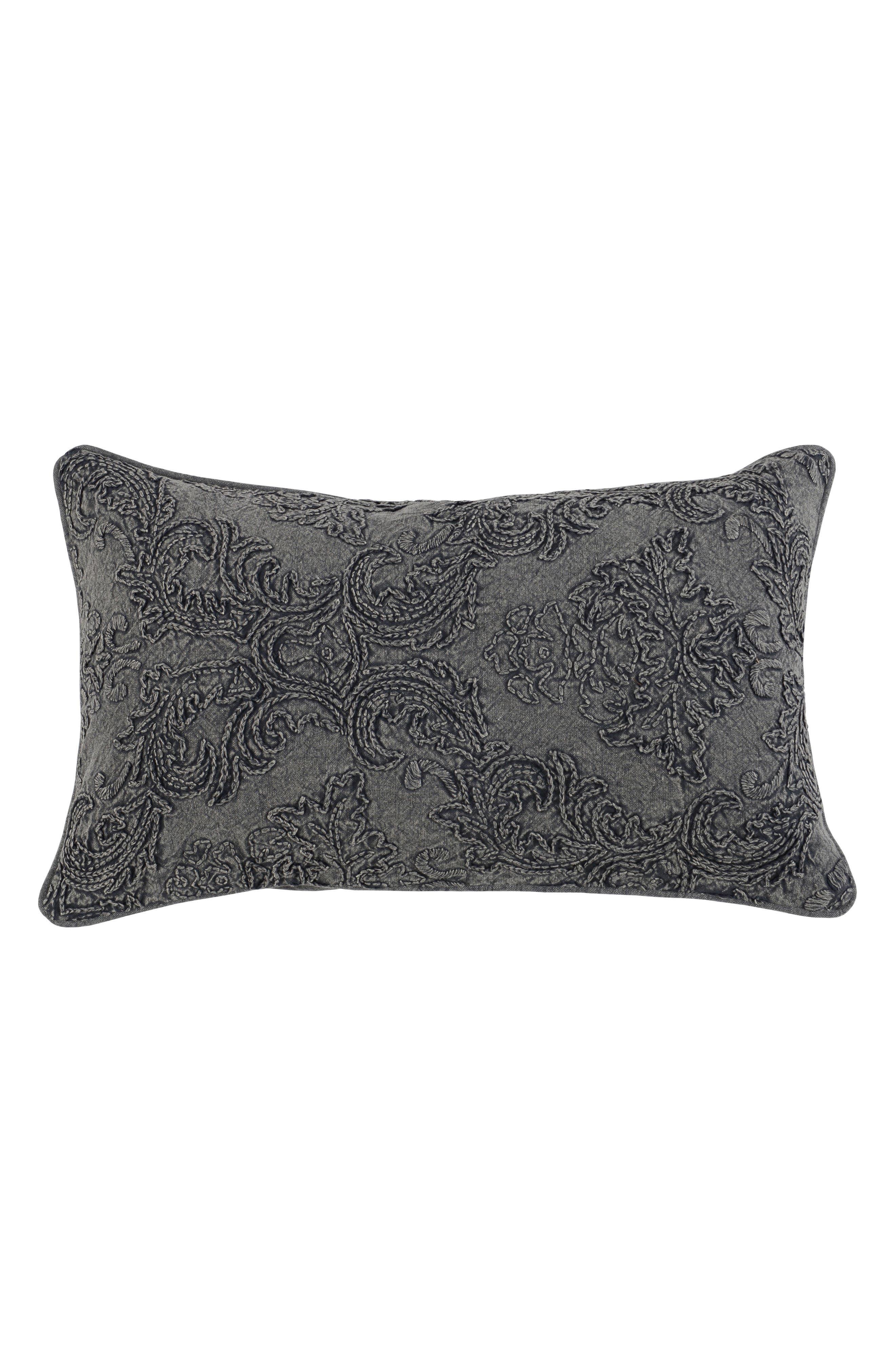 Perlita Linen Accent Pillow,                         Main,                         color, CHARCOAL