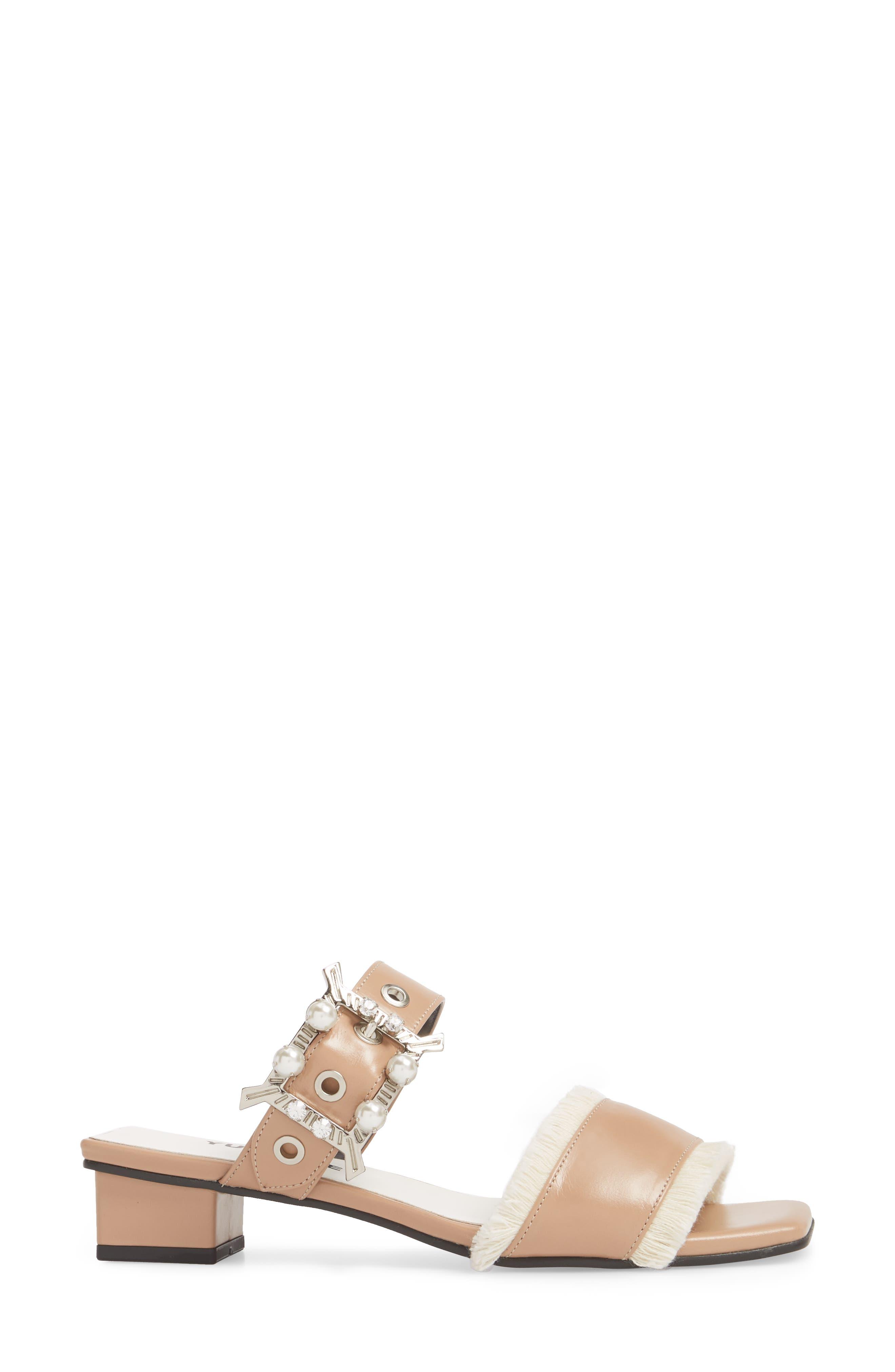 Embellished Slide Sandal,                             Alternate thumbnail 3, color,                             SKIN BEIGE