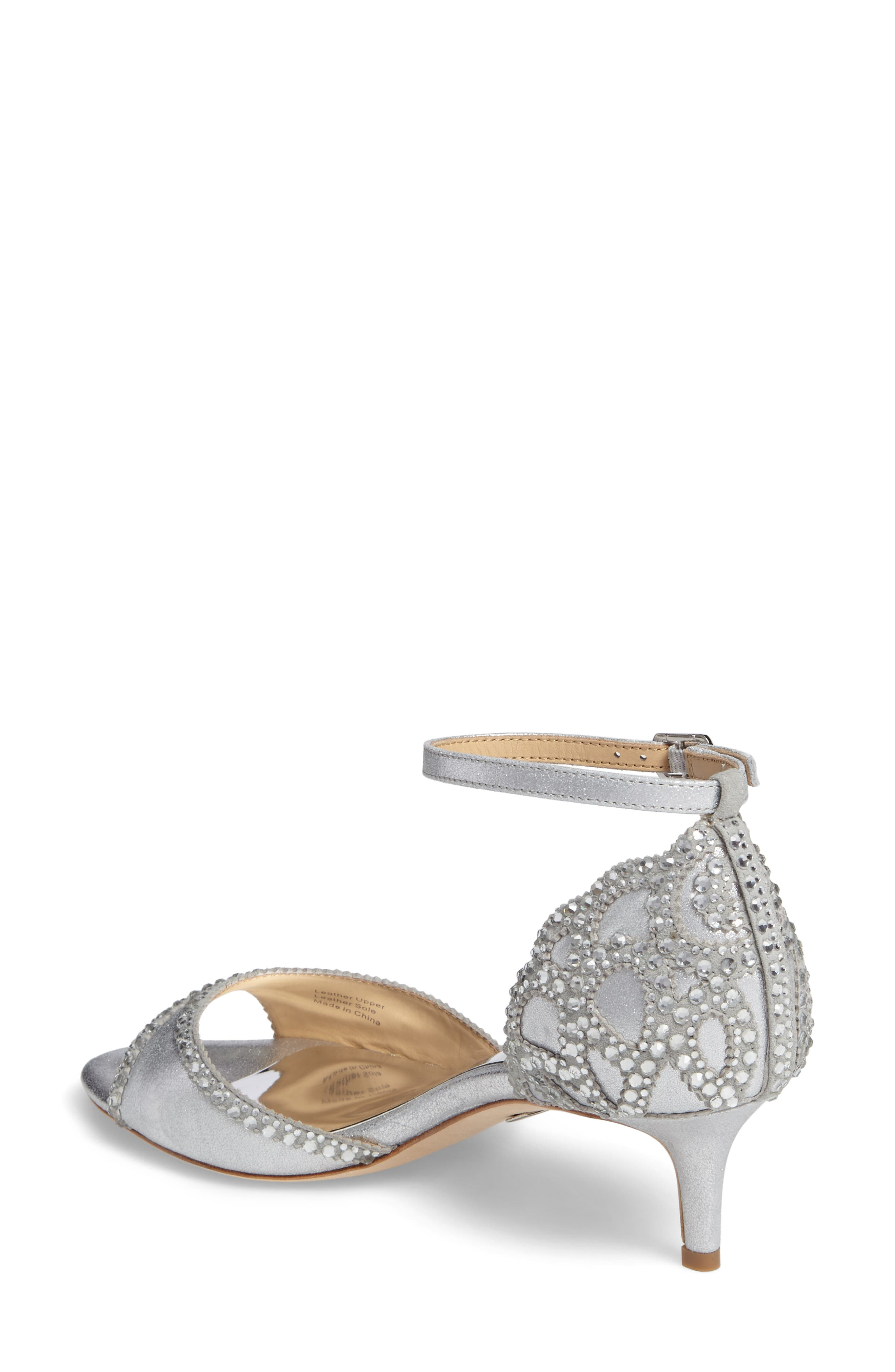 'Gillian' Crystal Embellished d'Orsay Sandal,                             Alternate thumbnail 2, color,                             SILVER METALLIC SUEDE