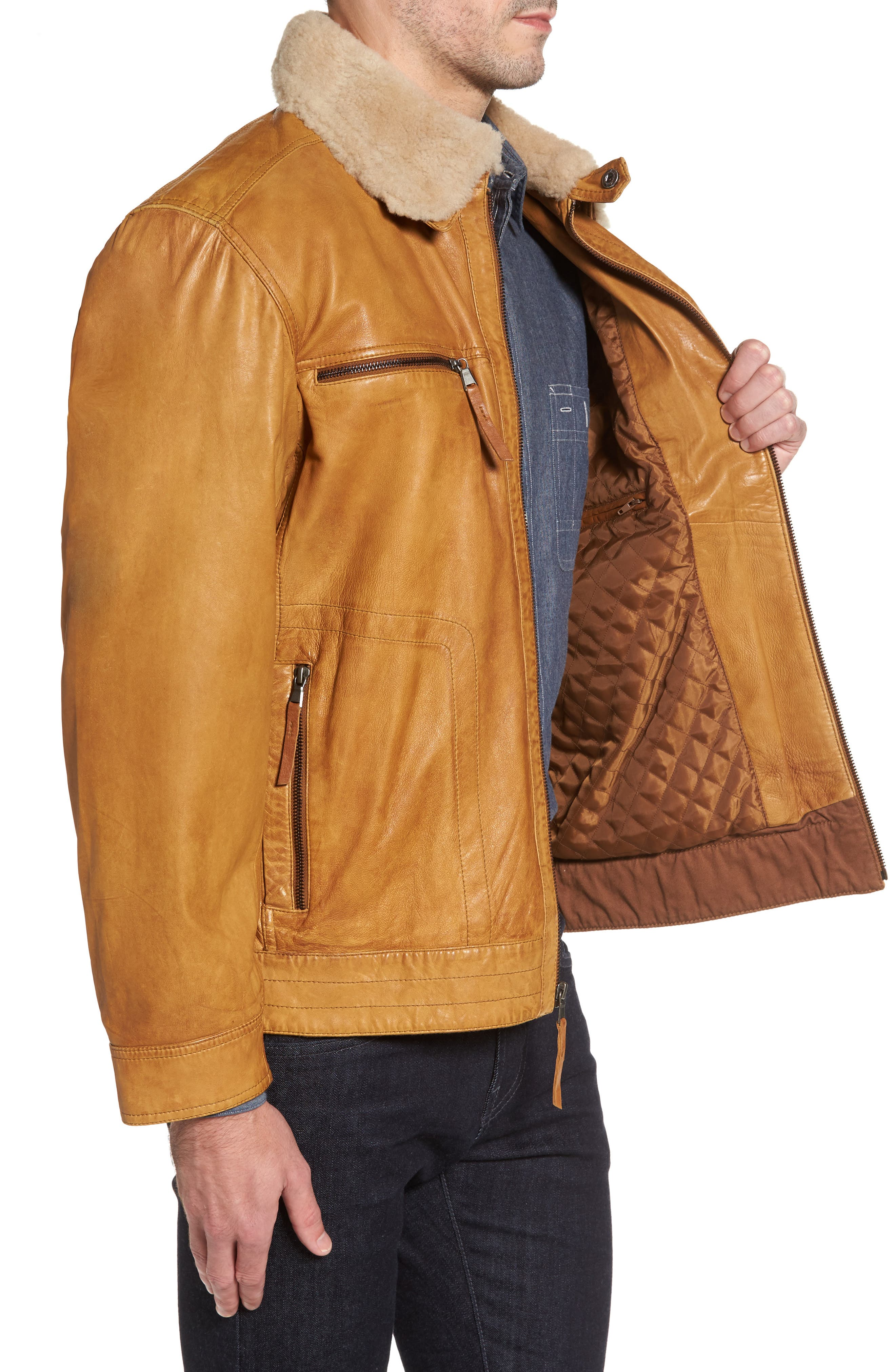 Leather Jacket with Detachable Genuine Shearling Collar,                             Alternate thumbnail 3, color,                             210