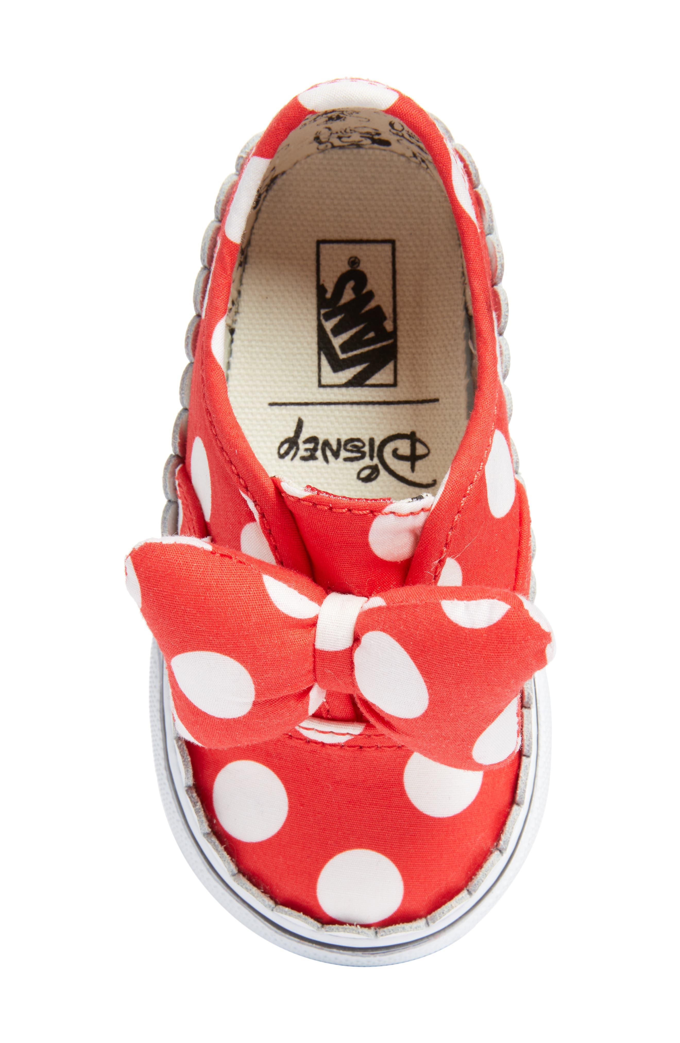 x Disney Authentic Gore Minnie Mouse Bow Slip-On Sneaker,                             Alternate thumbnail 5, color,                             DISNEY MINNIE BOW TRUE WHITE