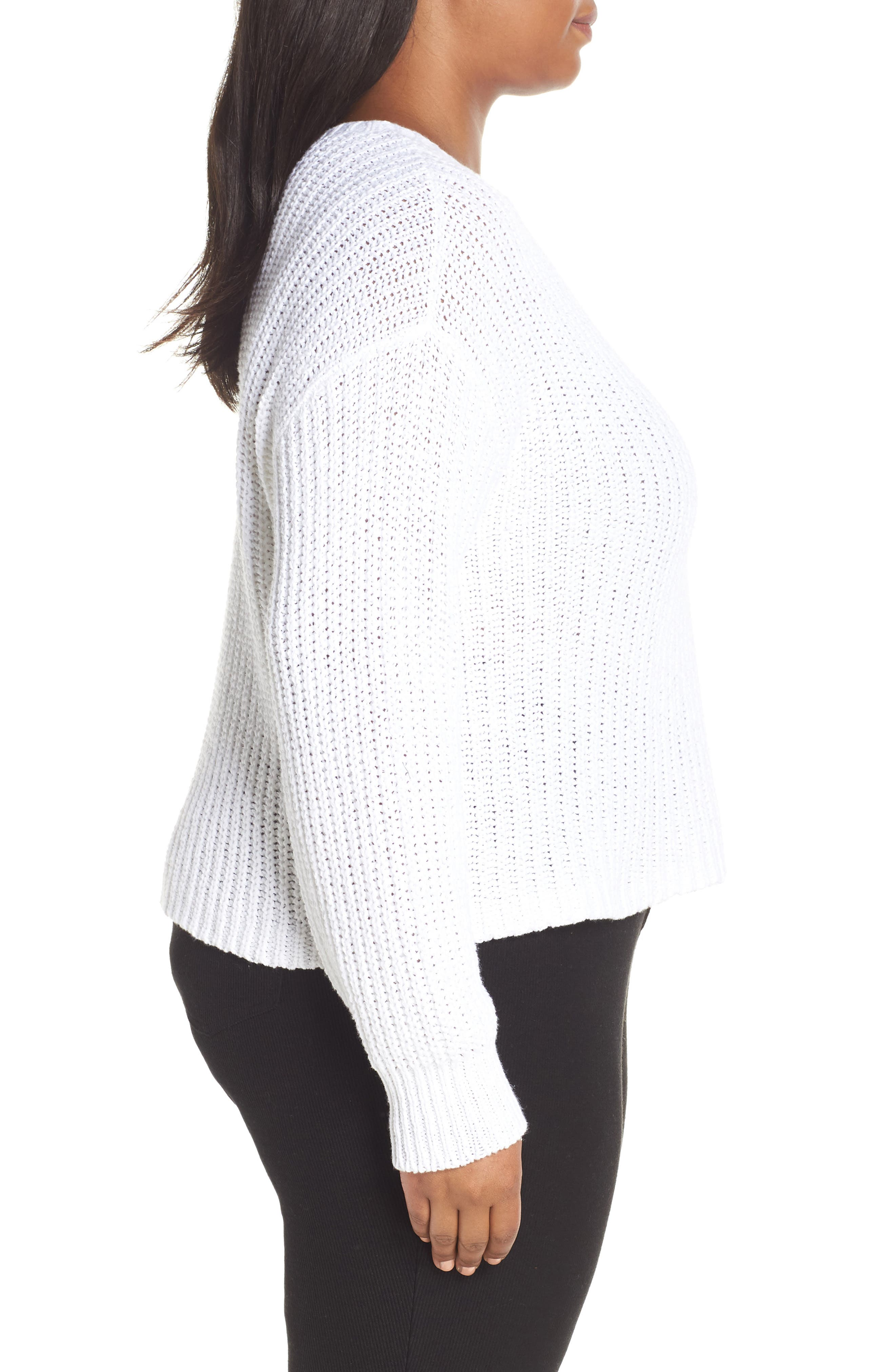 Crewneck Crop Shaker Sweater,                             Alternate thumbnail 9, color,                             WHITE