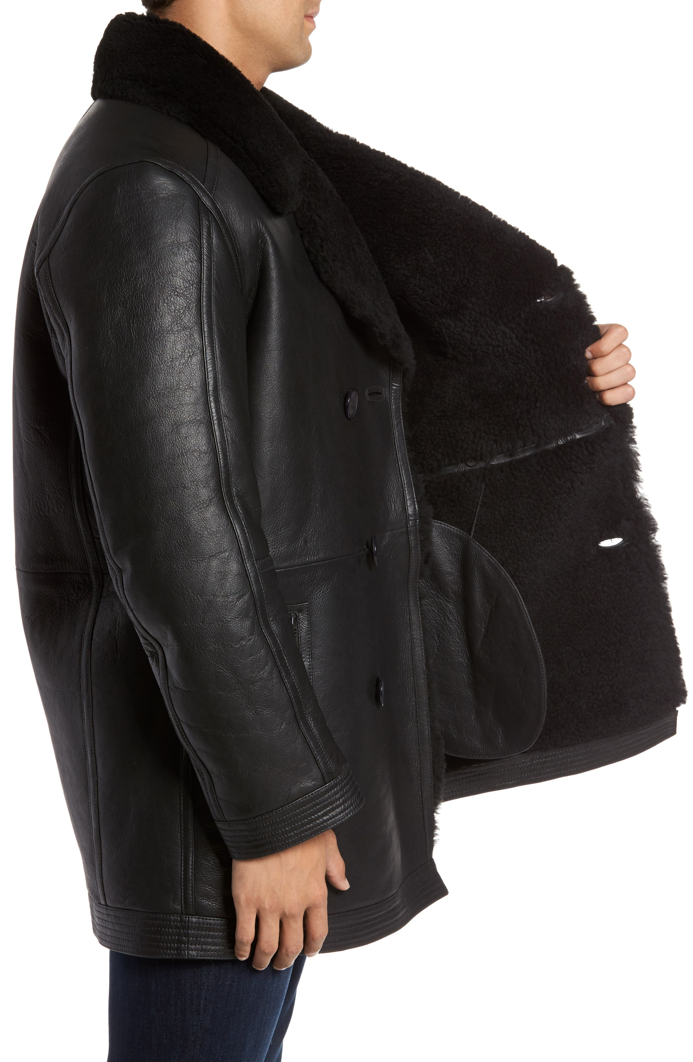 Marc New York Frontier Double Breasted Genuine Shearling Jacket,                             Alternate thumbnail 3, color,                             001