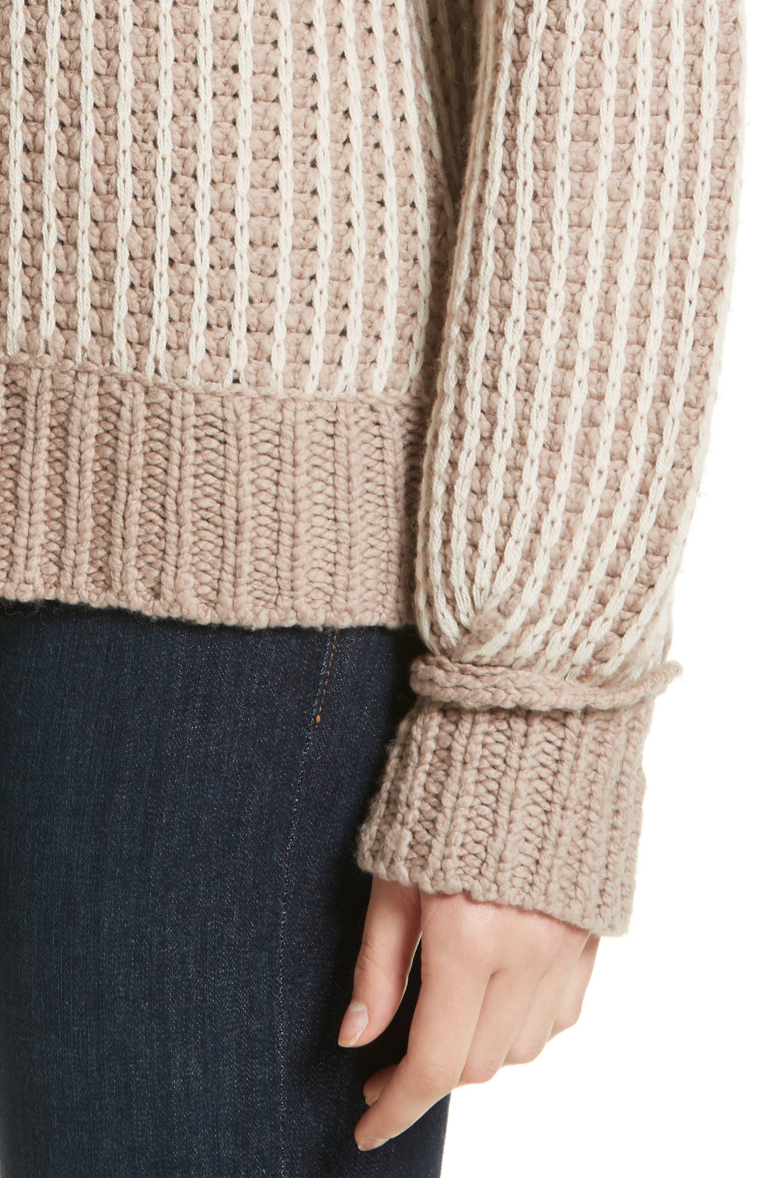 Jessen Stripe Wool & Cashmere Sweater,                             Alternate thumbnail 4, color,                             210