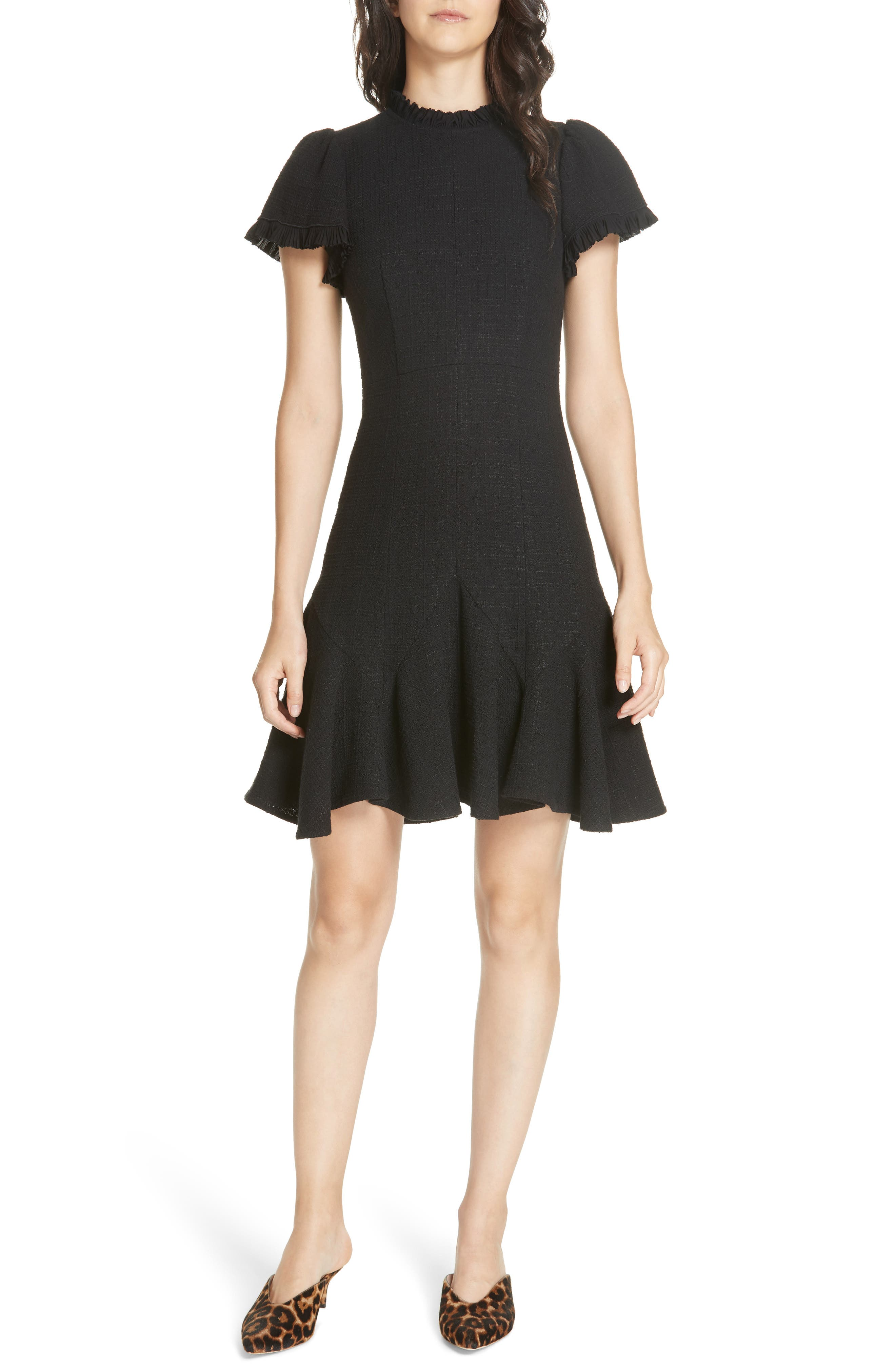 REBECCA TAYLOR Short-Sleeve Ruffle Tweed Short Dress in Black