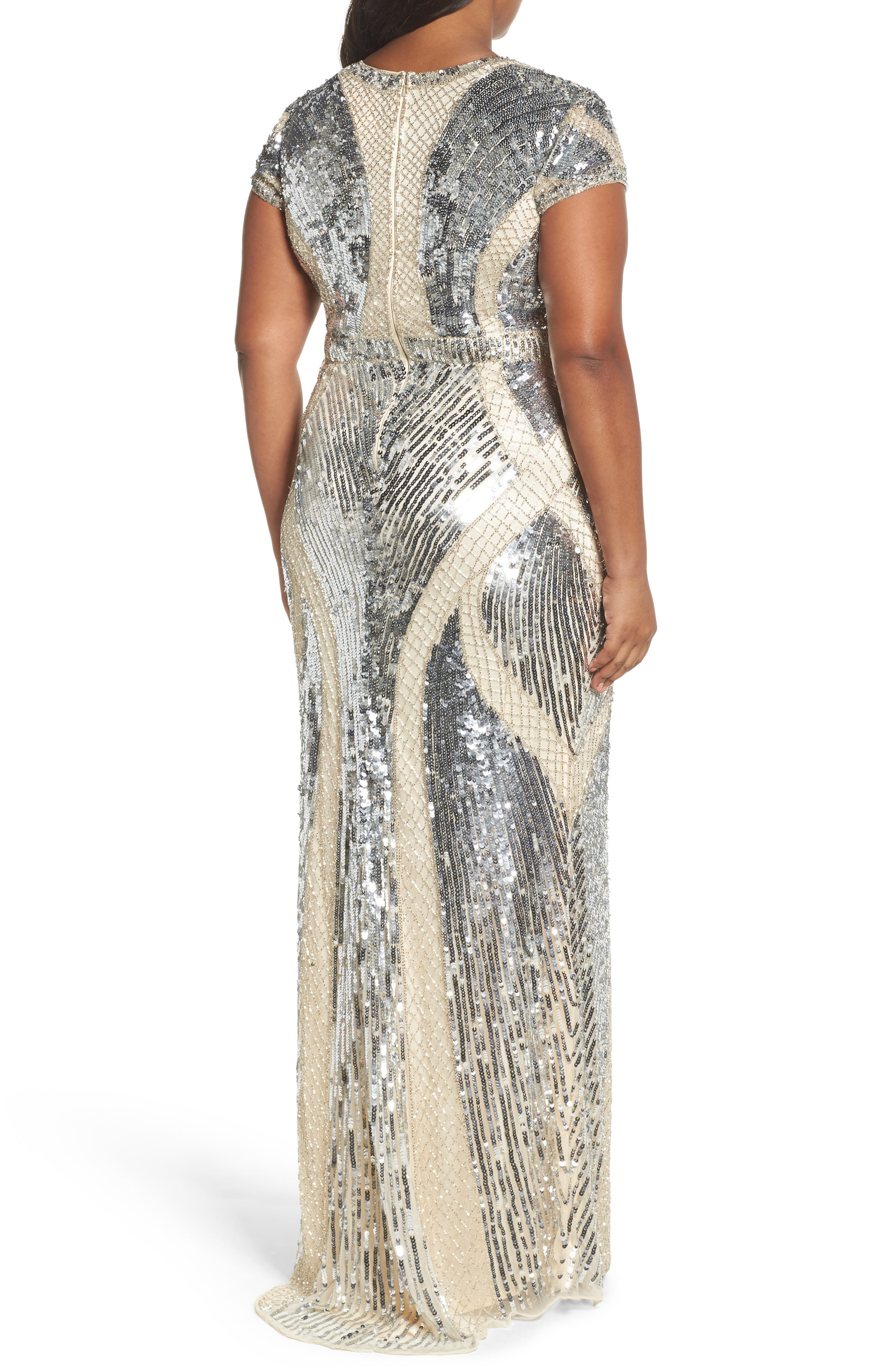 Jewel Neck Sequin Gown,                             Alternate thumbnail 2, color,                             SILVER/ NUDE