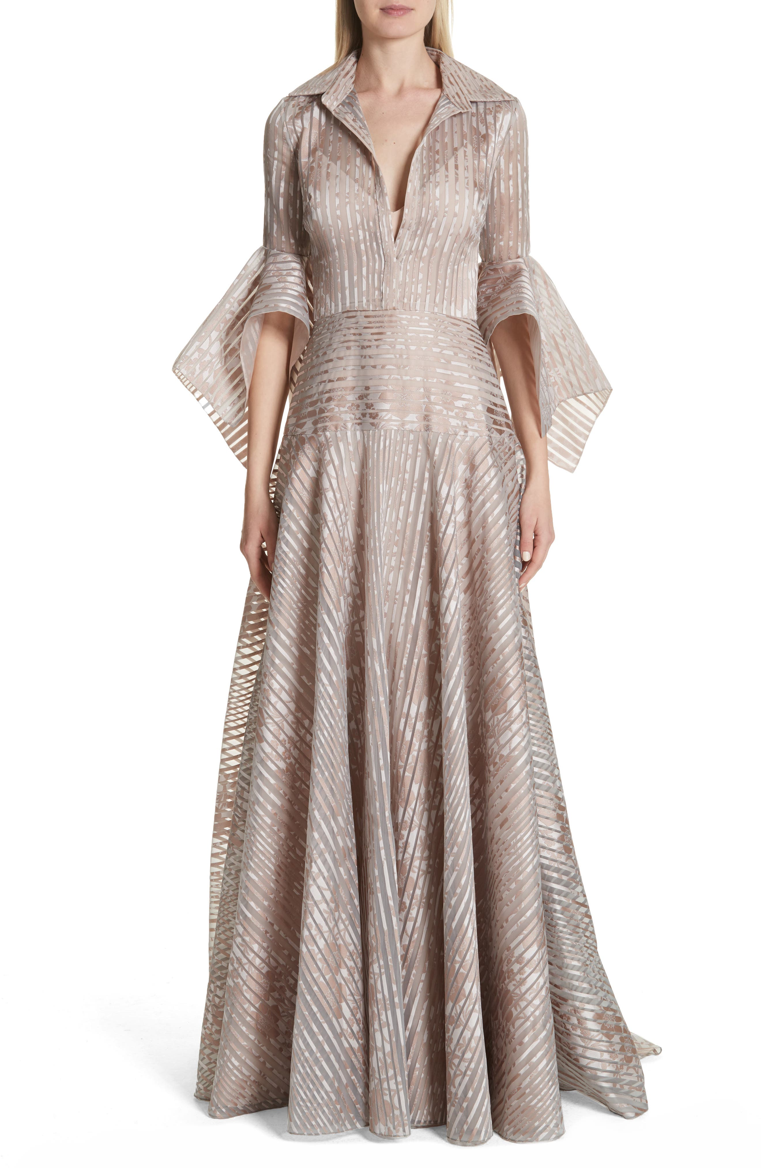 Platinum Metallic Texture Stripe Organza Gown,                         Main,                         color, MAUVE