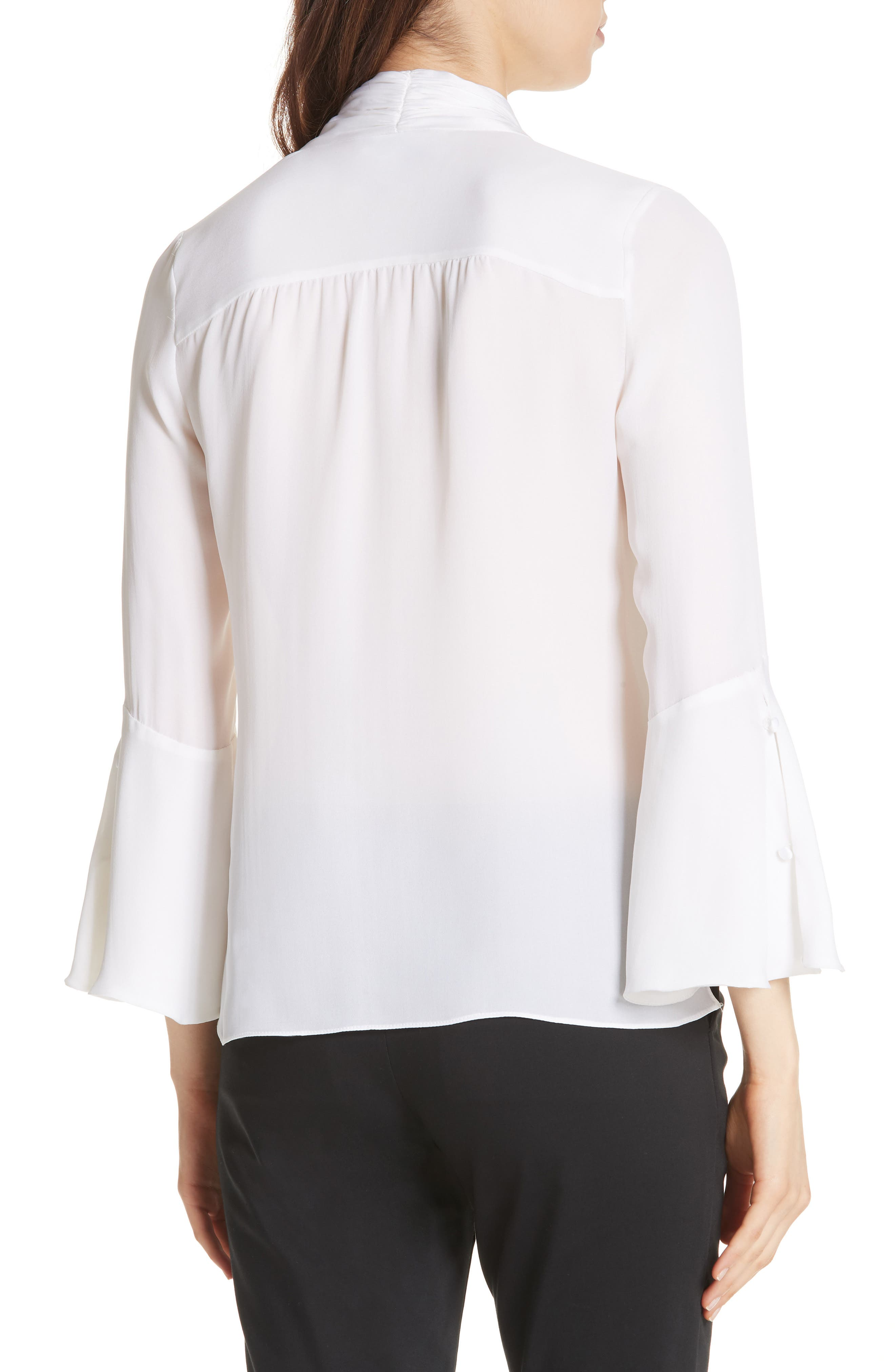 Meredith Tie Neck Silk Blouse,                             Alternate thumbnail 2, color,                             WHITE