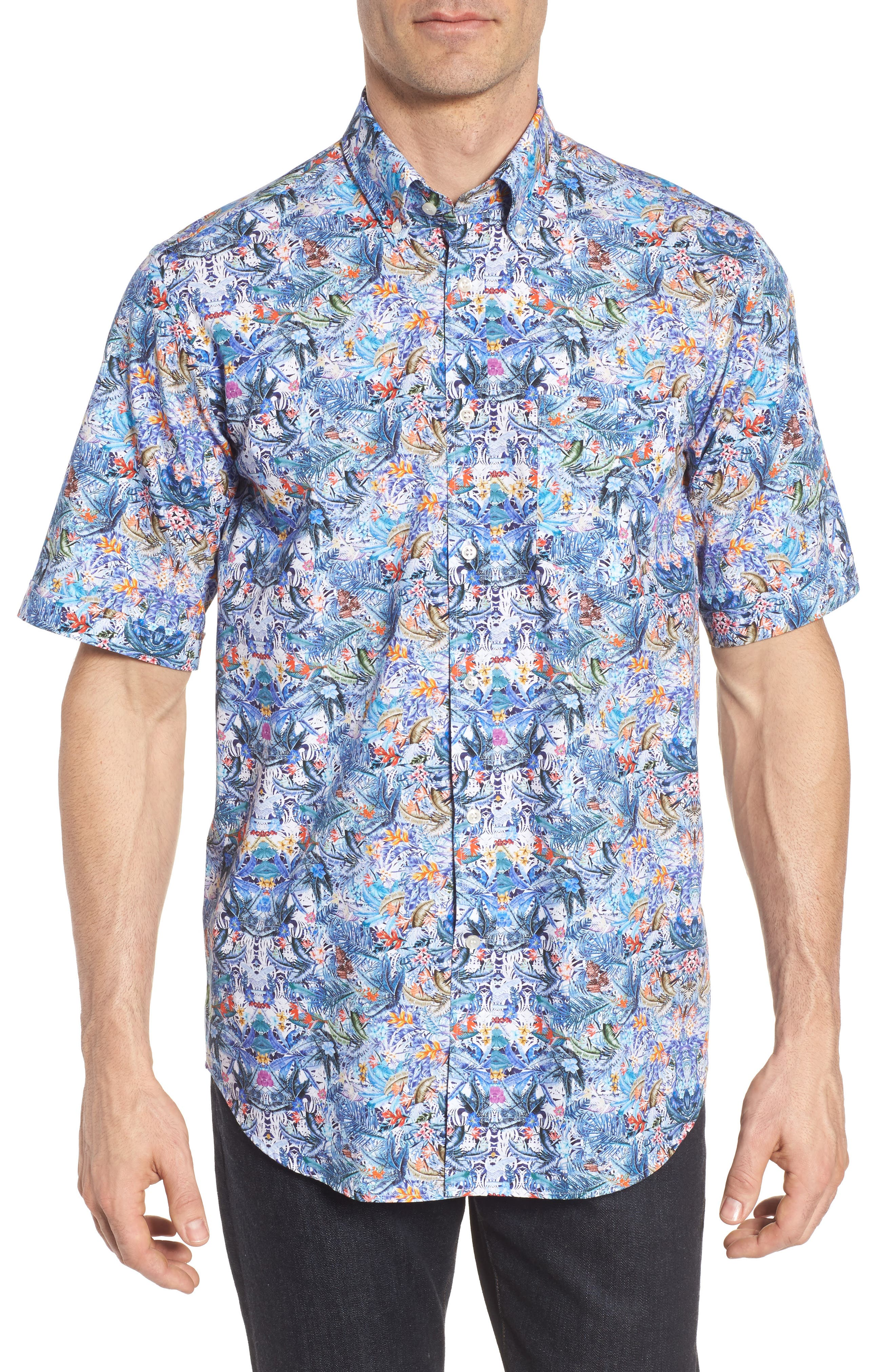 Paul&Shark Regular Fit Tropical Print Sport Shirt,                         Main,                         color, 101