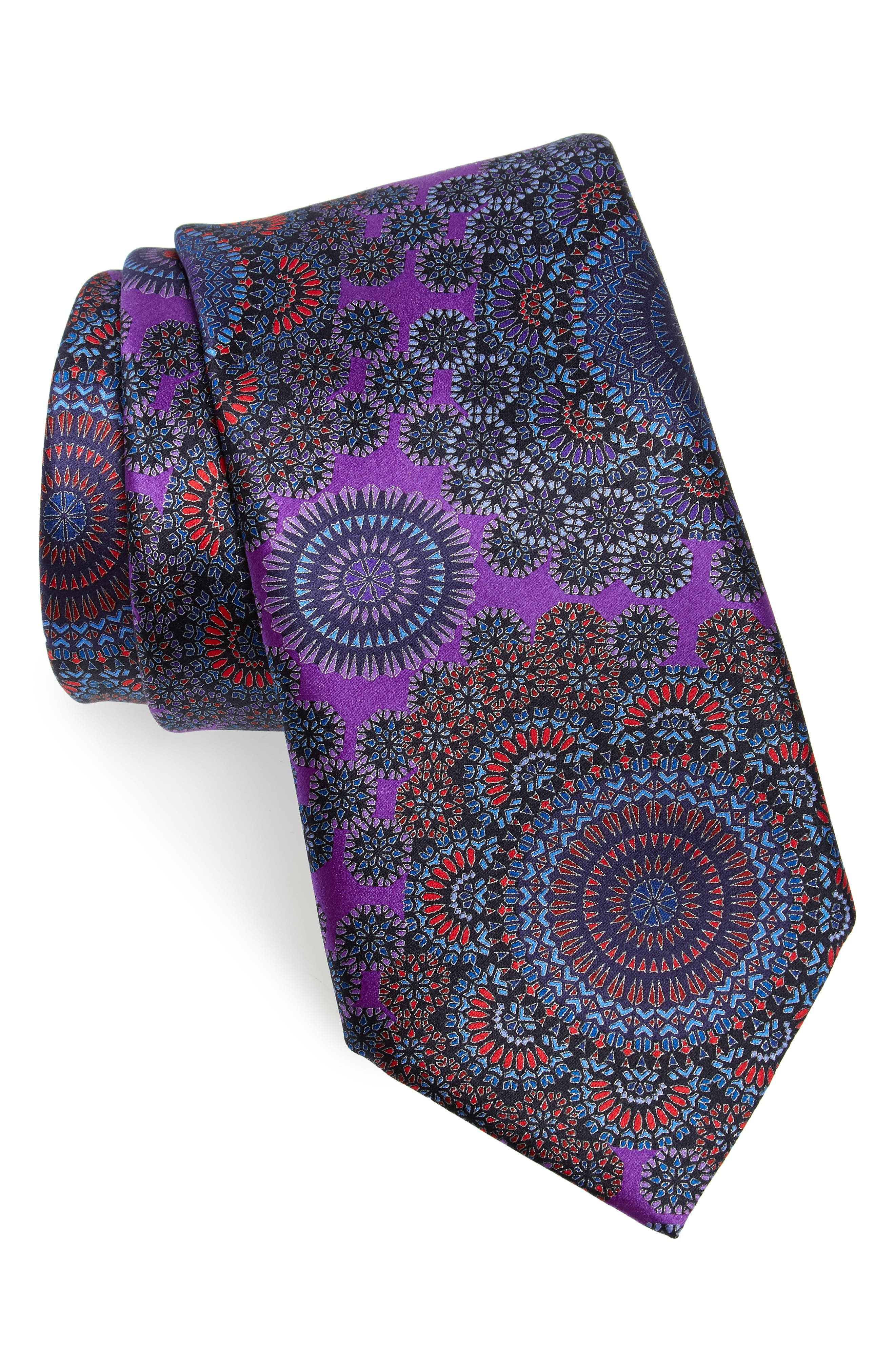 Quindici + Quindici Medallion Silk Tie,                             Main thumbnail 1, color,                             PURPLE