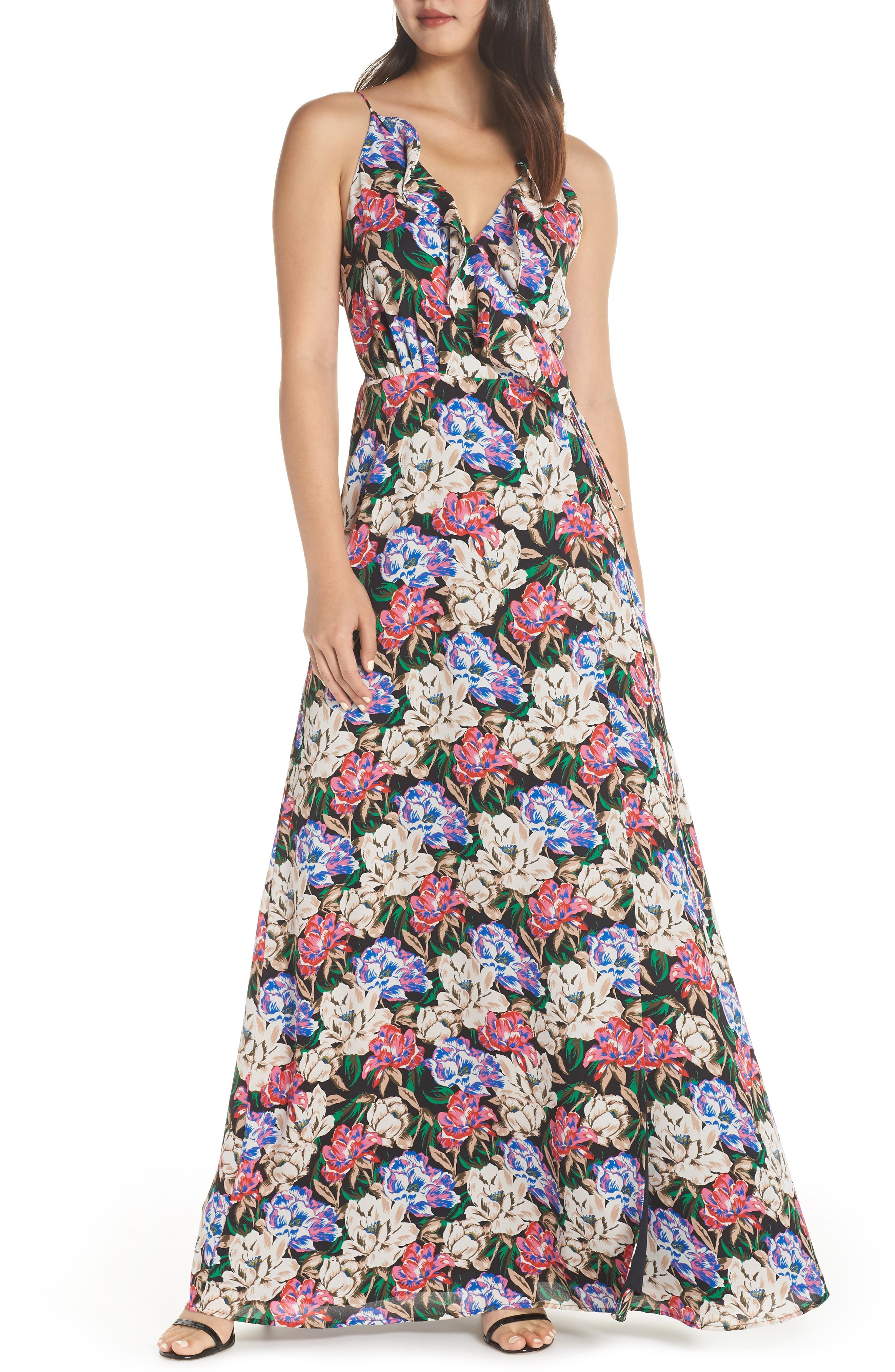 WAYF,                             Jamie Ruffle Wrap Gown,                             Main thumbnail 1, color,                             MIDNIGHT FLORAL