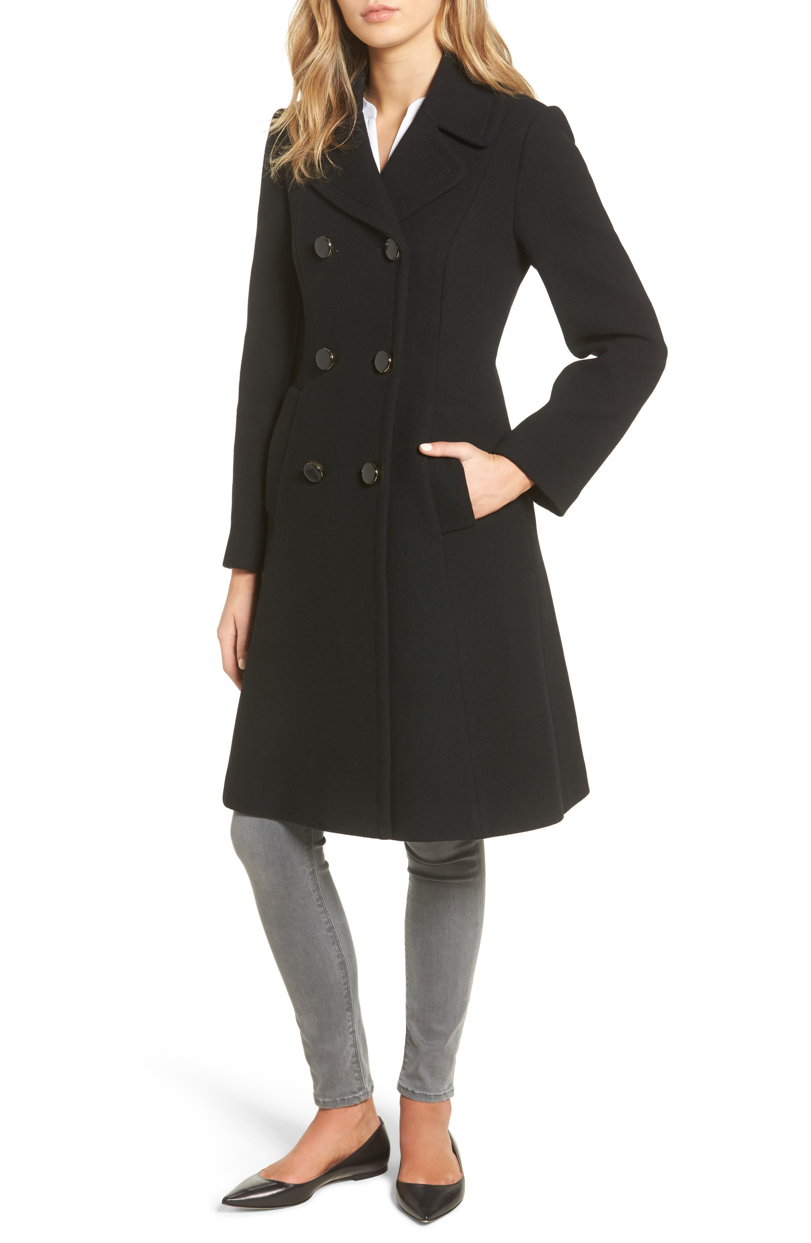 twill fit & flare coat,                             Alternate thumbnail 4, color,                             001