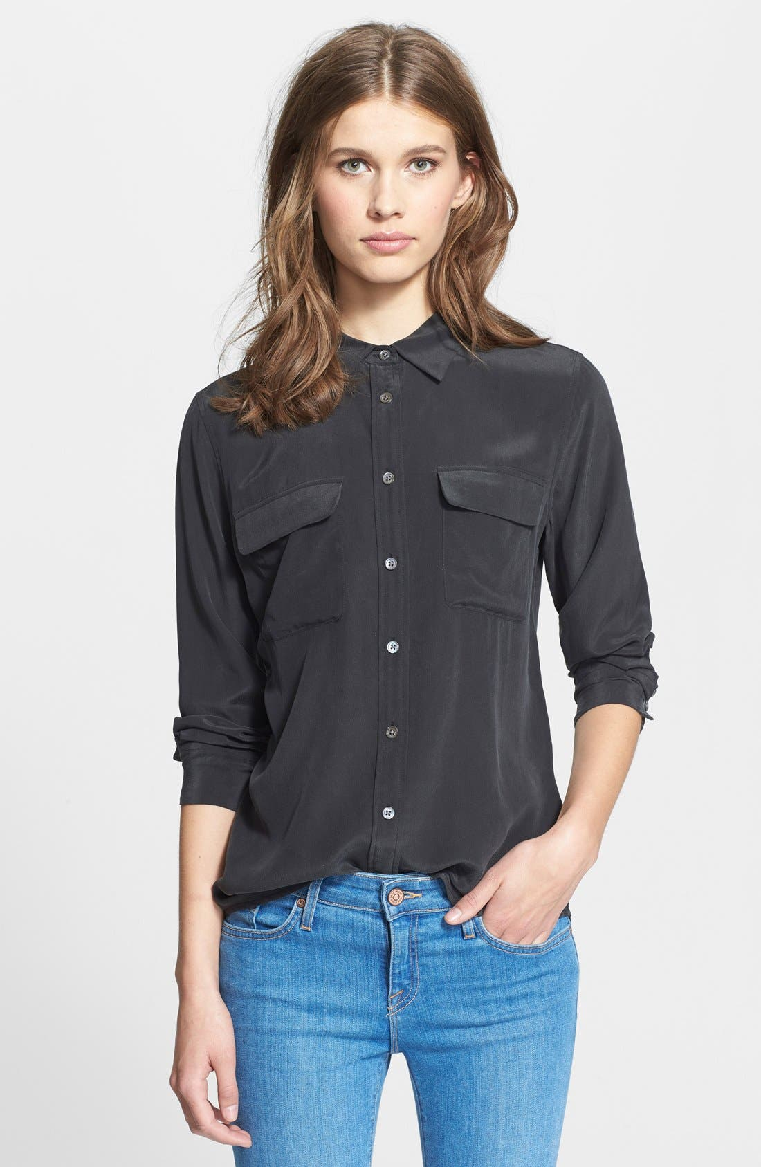 'Slim Signature' Silk Shirt,                             Main thumbnail 1, color,                             TRUE BLACK