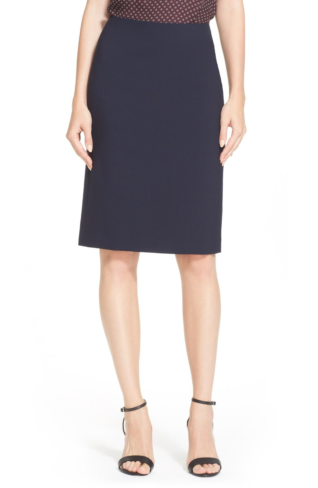 THEORY,                             Stretch Wool Pencil Skirt,                             Main thumbnail 1, color,                             491
