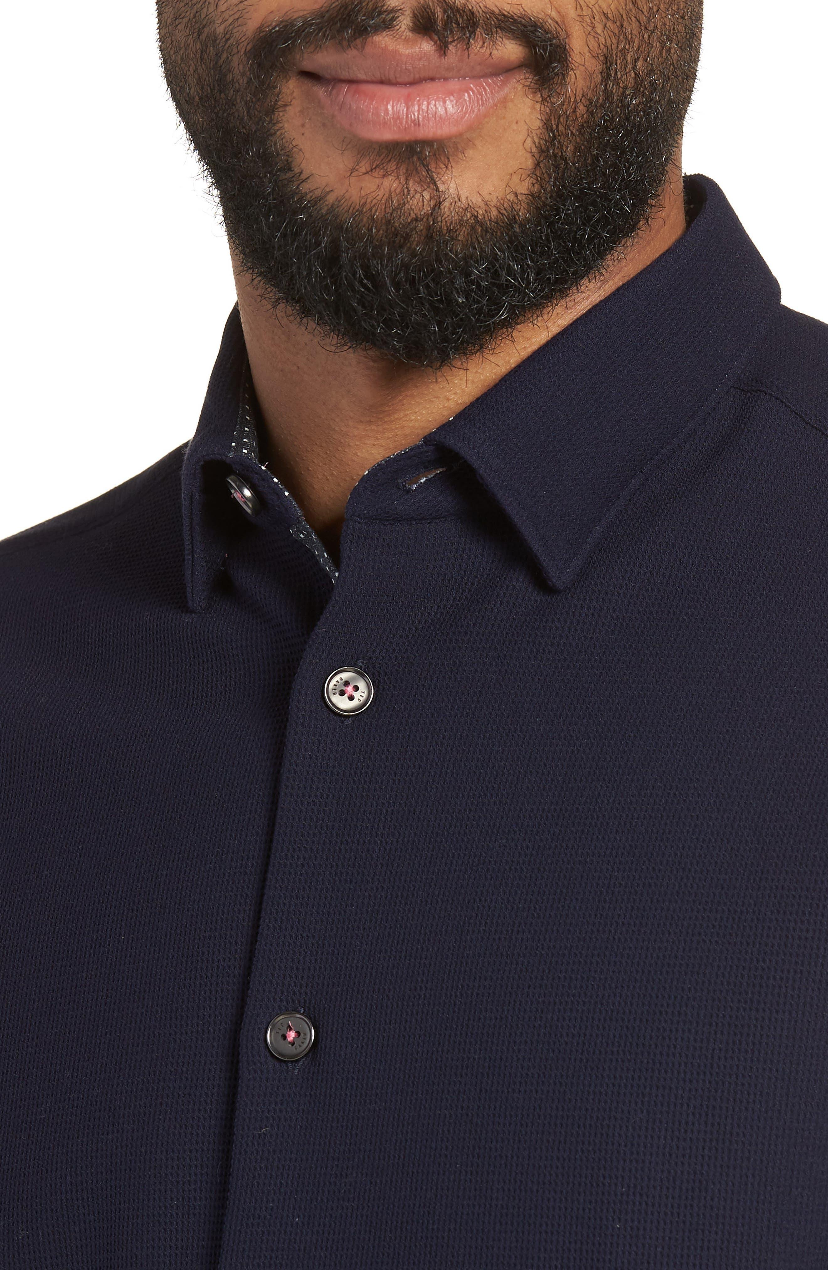 Loretax Trim Fit Stretch Knit Sport Shirt,                             Alternate thumbnail 4, color,