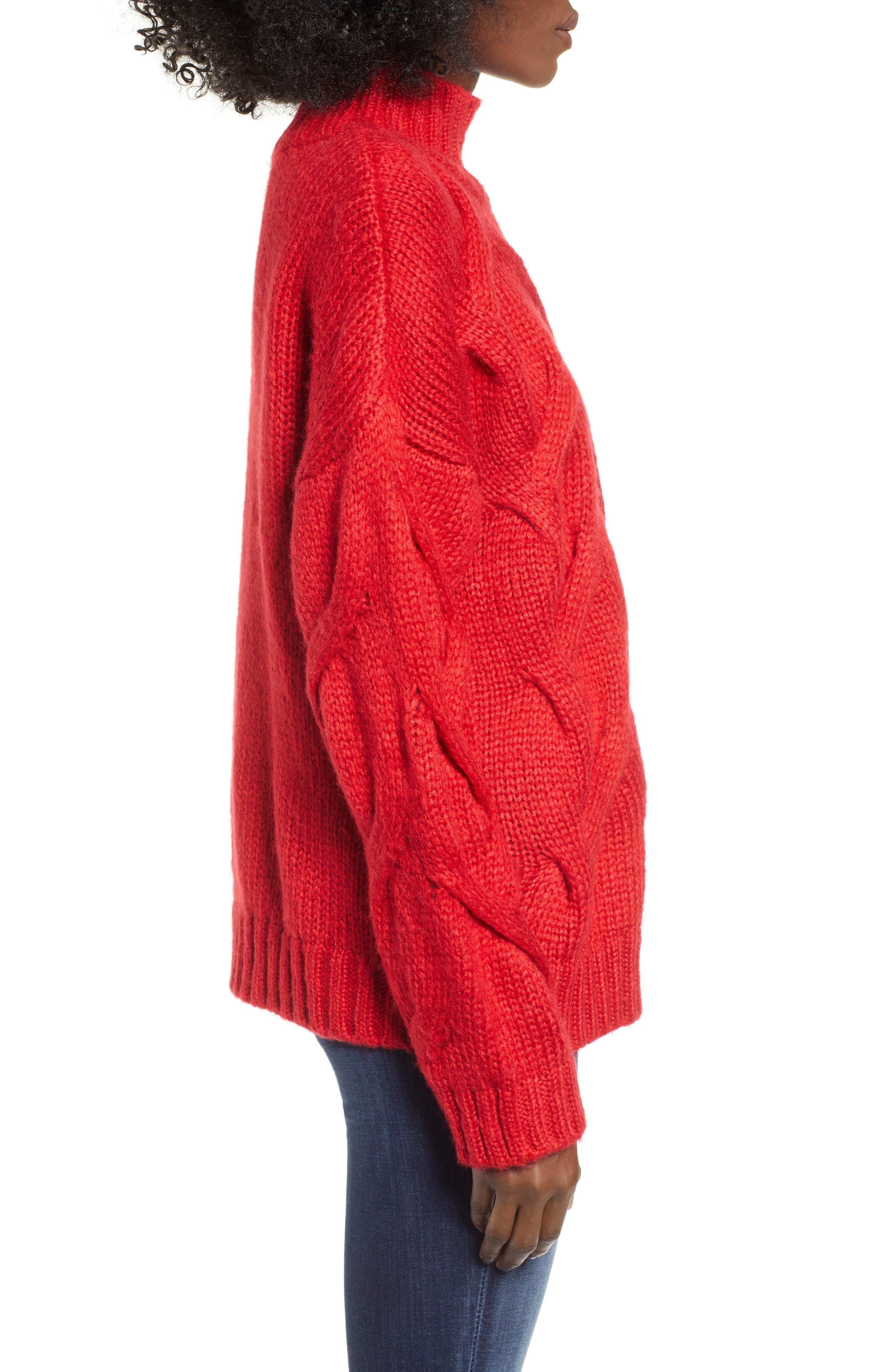 Cable Mock Neck Sweater,                             Alternate thumbnail 3, color,                             RED