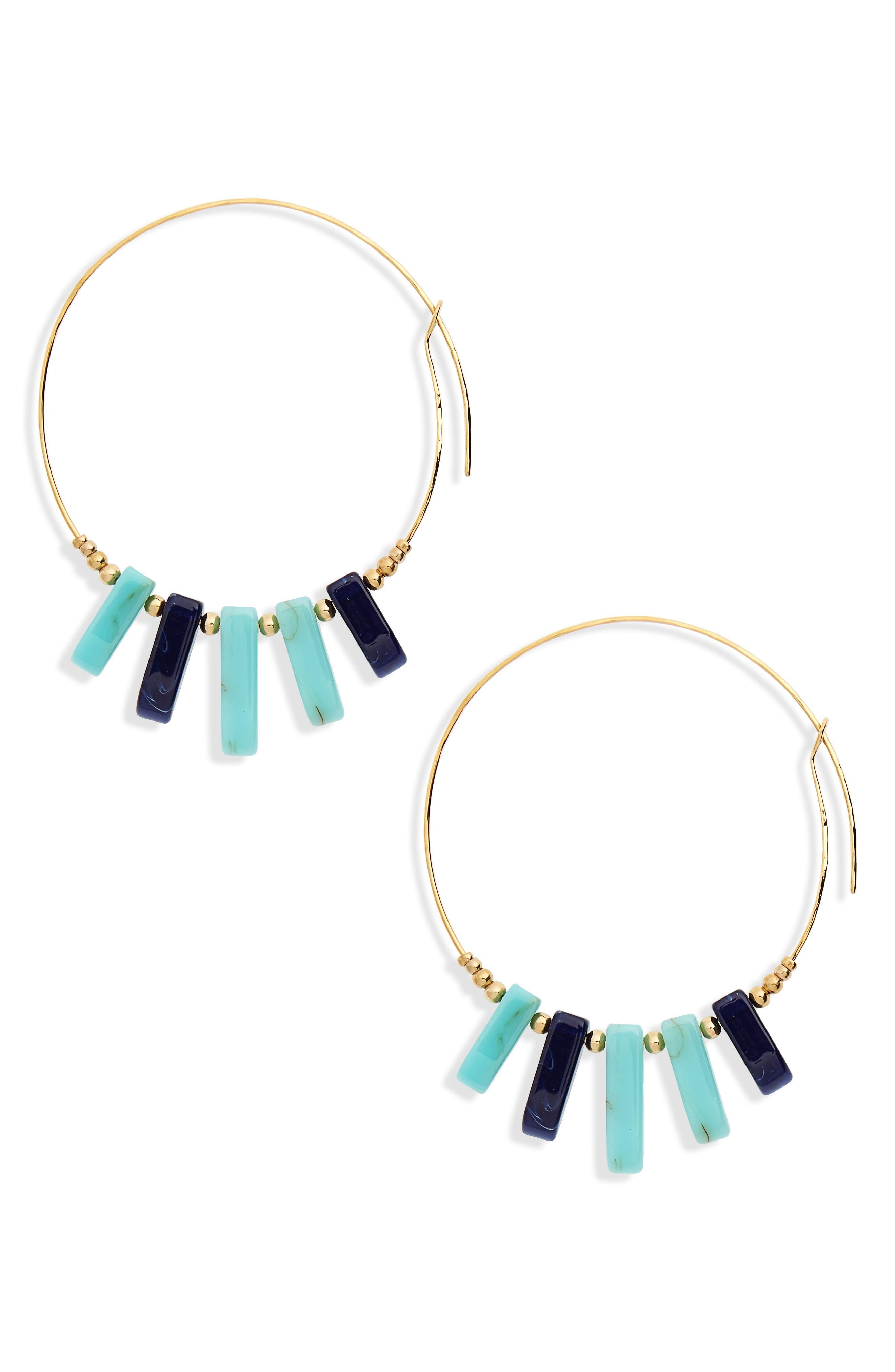 Hoop Earrings,                             Main thumbnail 1, color,                             TURQUOISE/ BLUE