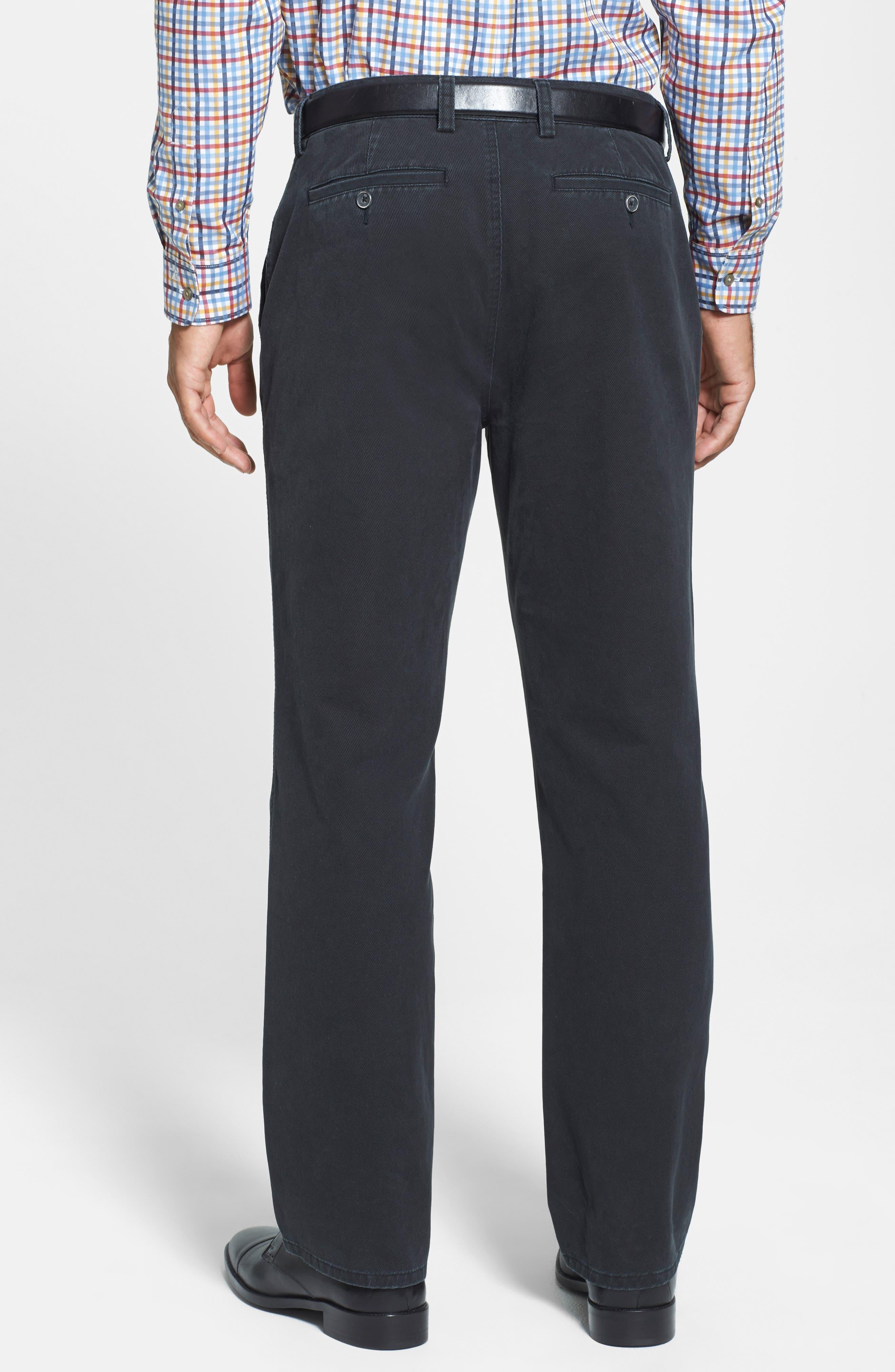 Curtis Flat Front Five-Pocket Cotton Twill Pants,                             Alternate thumbnail 3, color,                             BLACK