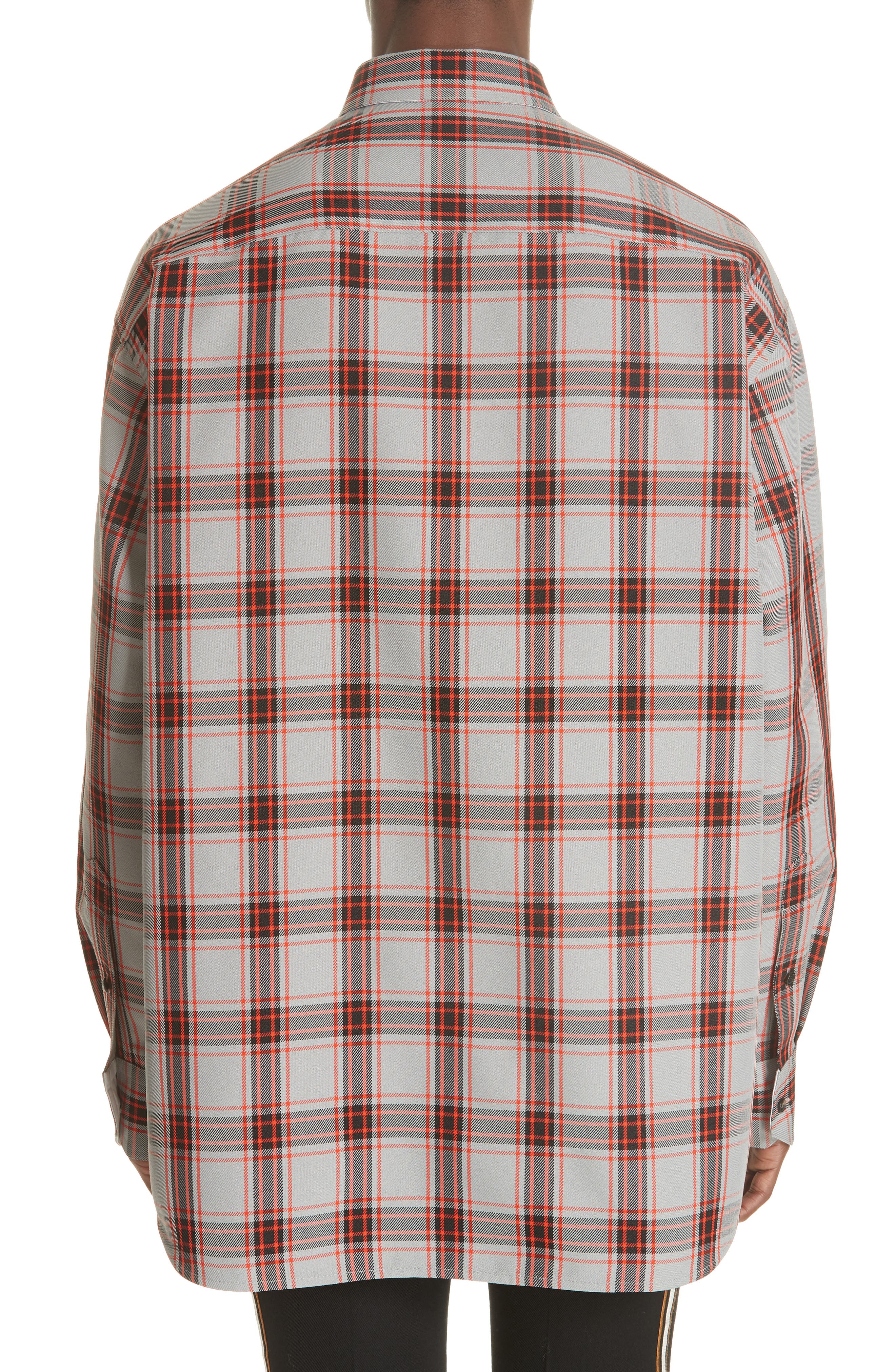 Oversize Plaid Twill Shirt,                             Alternate thumbnail 3, color,                             GREY/ RED