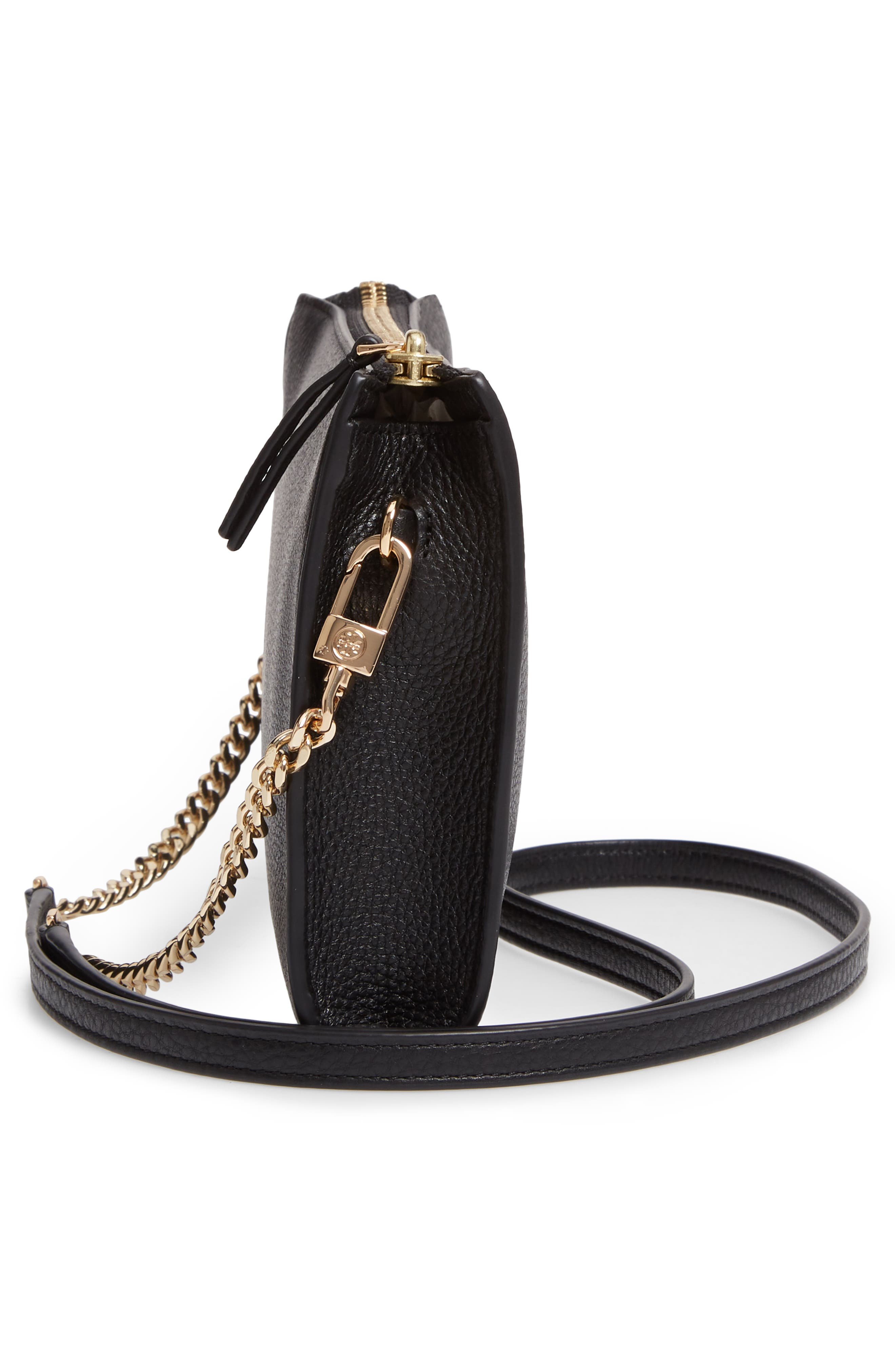 TORY BURCH,                             Pebbled Leather Top Zip Crossbody Bag,                             Alternate thumbnail 5, color,                             BLACK