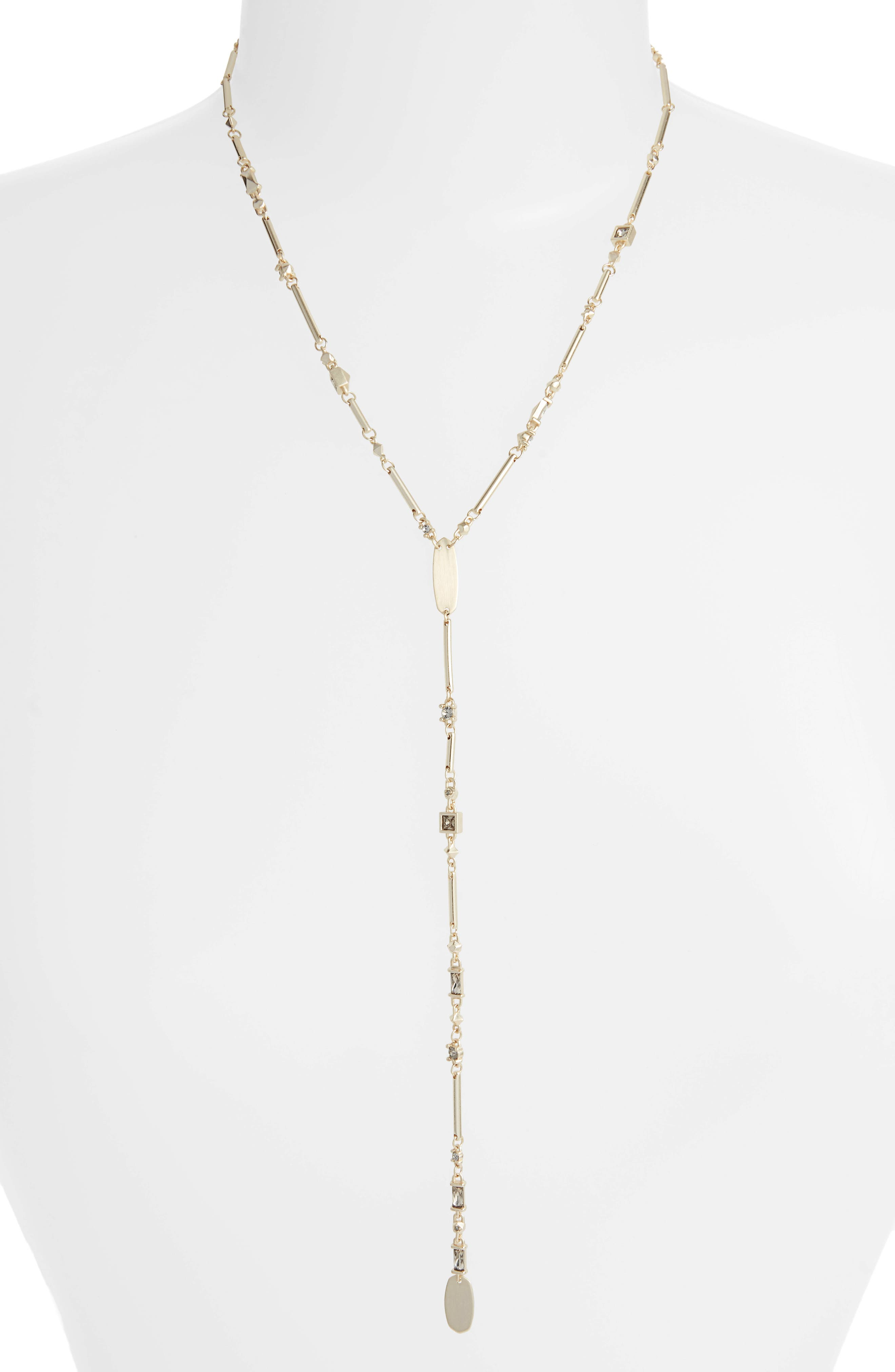 KENDRA SCOTT Crowley Lariat Necklace, 18 in Smoky Mix/ Gold