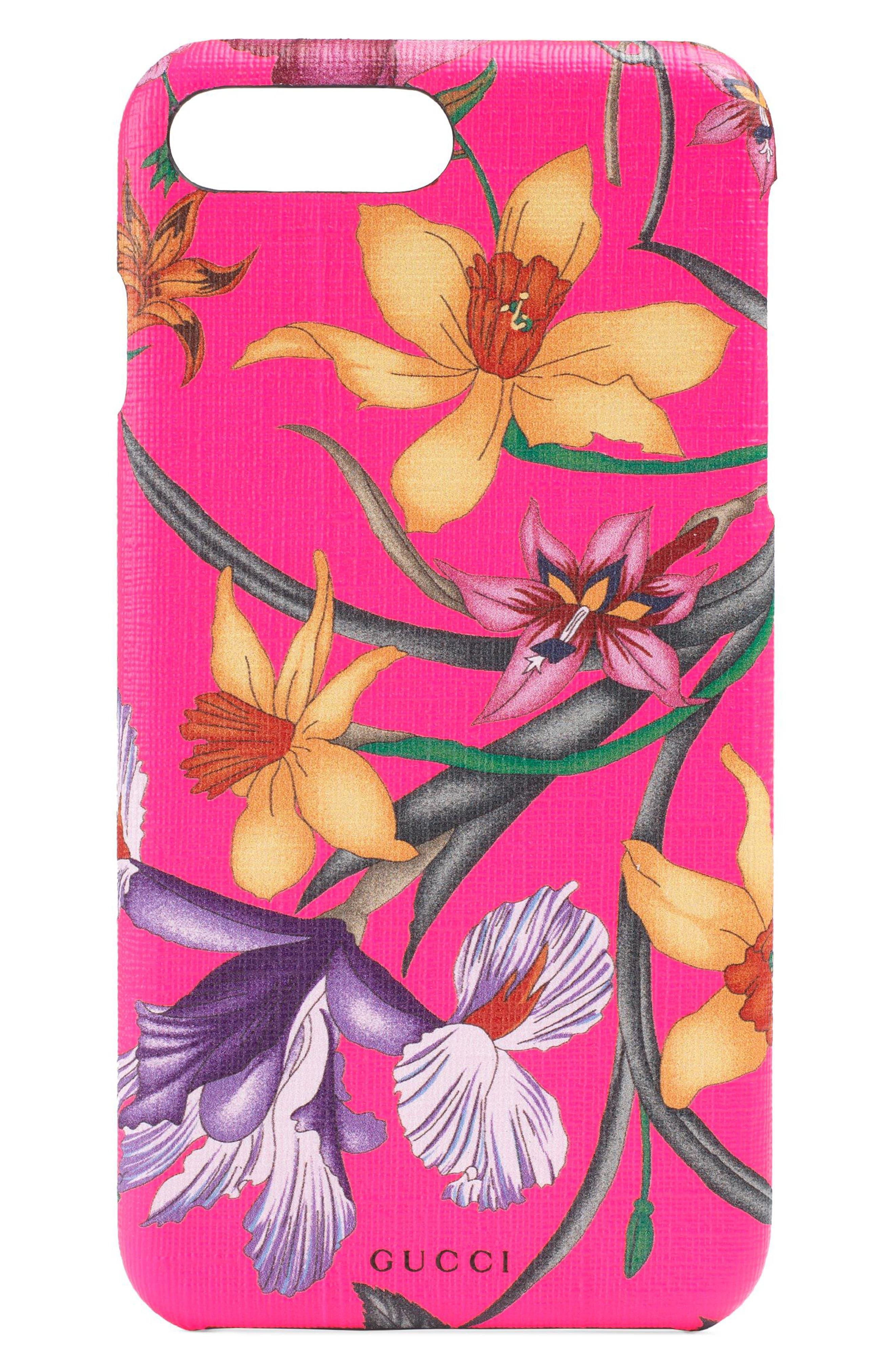 Floral Print iPhone 7/8 Plus Case,                             Main thumbnail 1, color,                             FUXIA FLOURESCENT MULTI