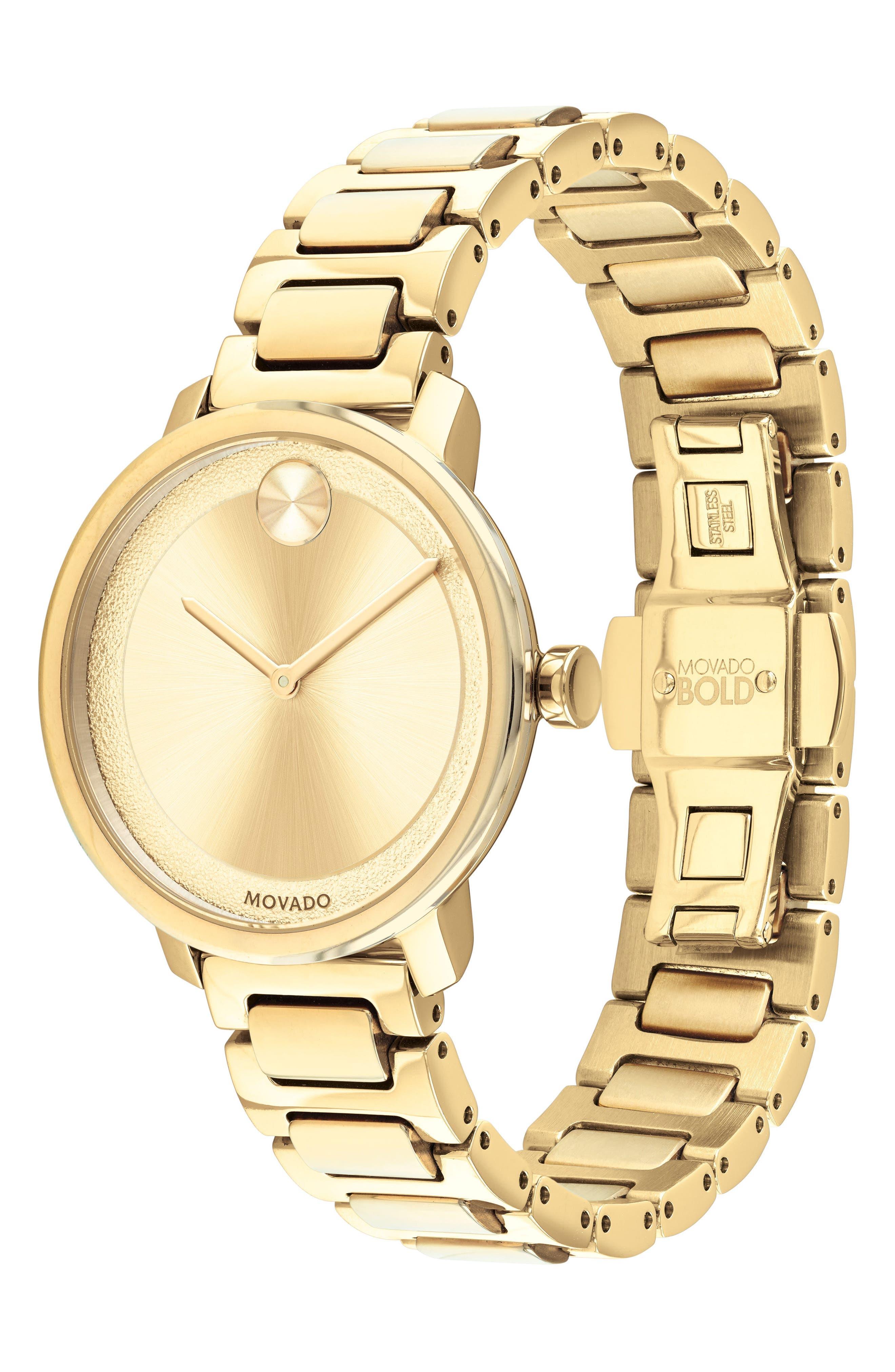 MOVADO,                             Bold Bracelet Watch, 34mm,                             Alternate thumbnail 3, color,                             GOLD