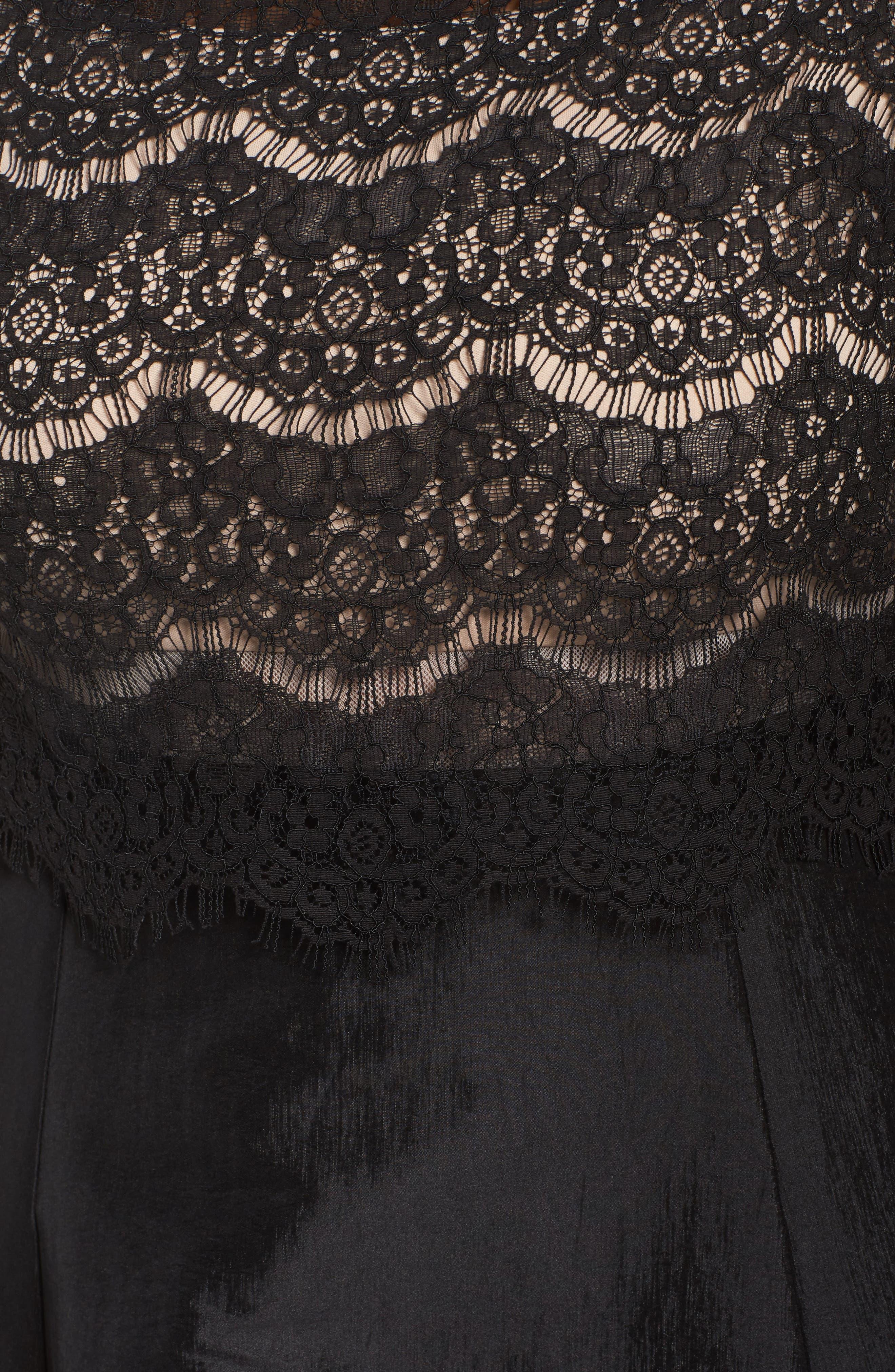 Lace & Taffeta Gown,                             Alternate thumbnail 5, color,                             BLACK