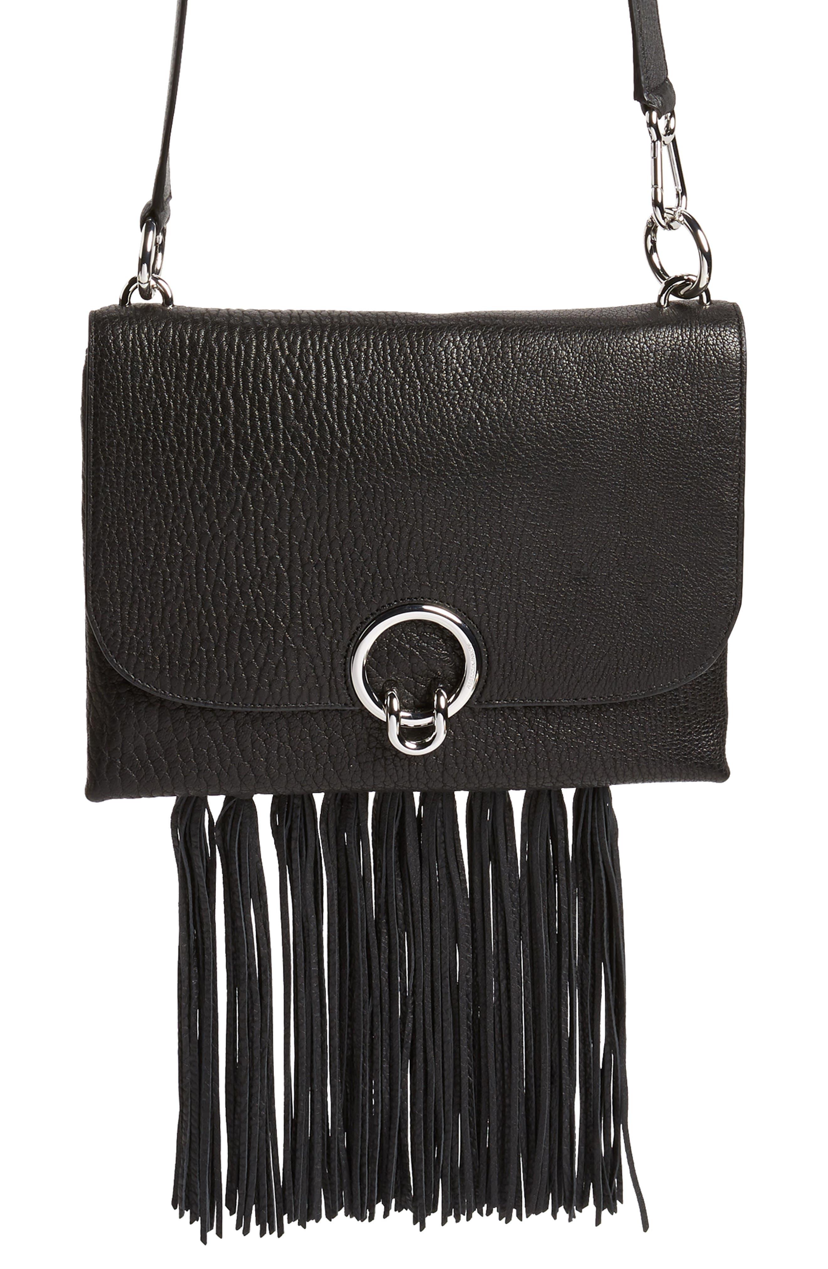 Isabel Fringe Leather Shoulder Bag,                             Main thumbnail 1, color,                             001