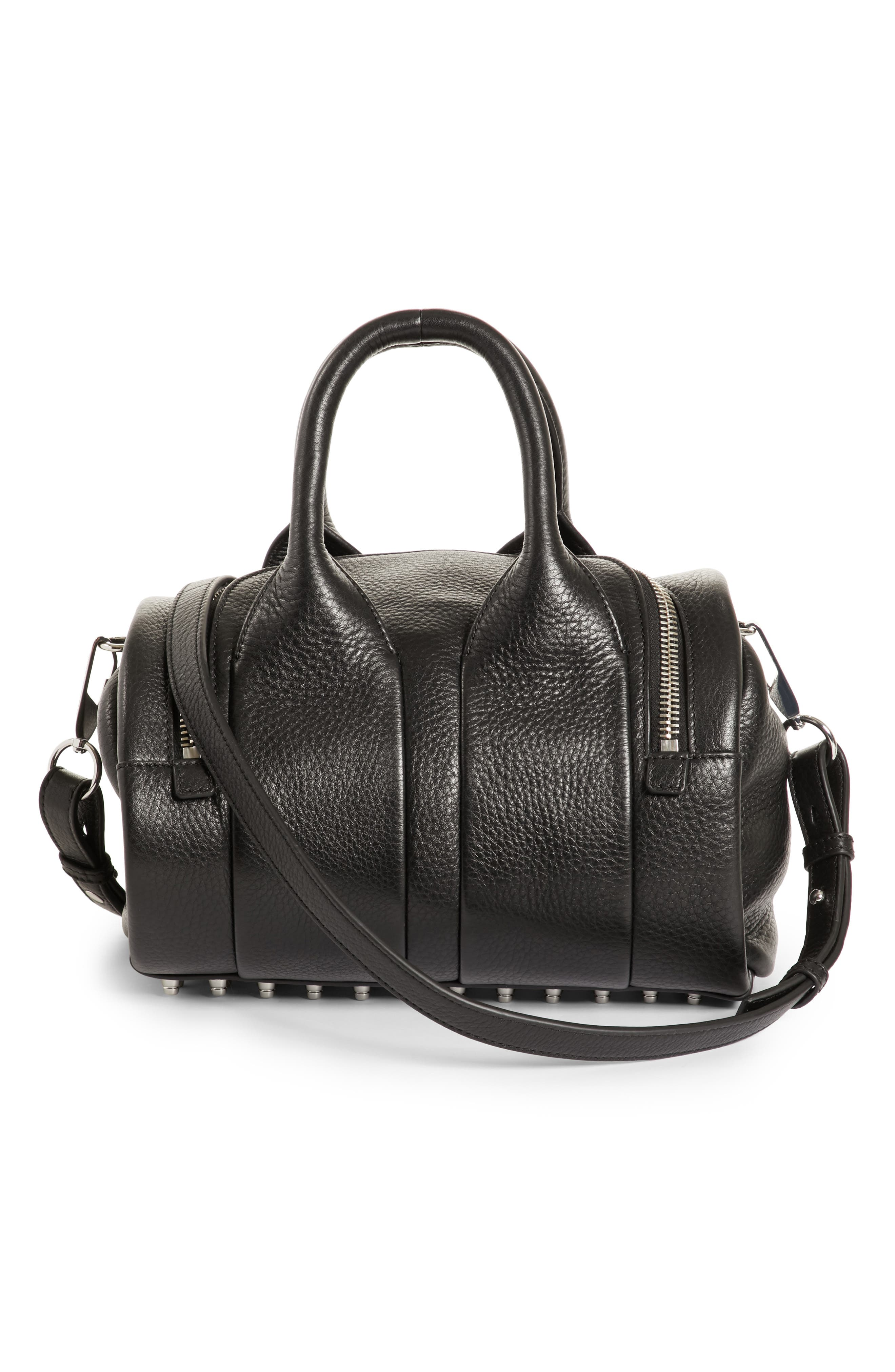 Rockie - Nickel Leather Satchel,                             Alternate thumbnail 3, color,                             001