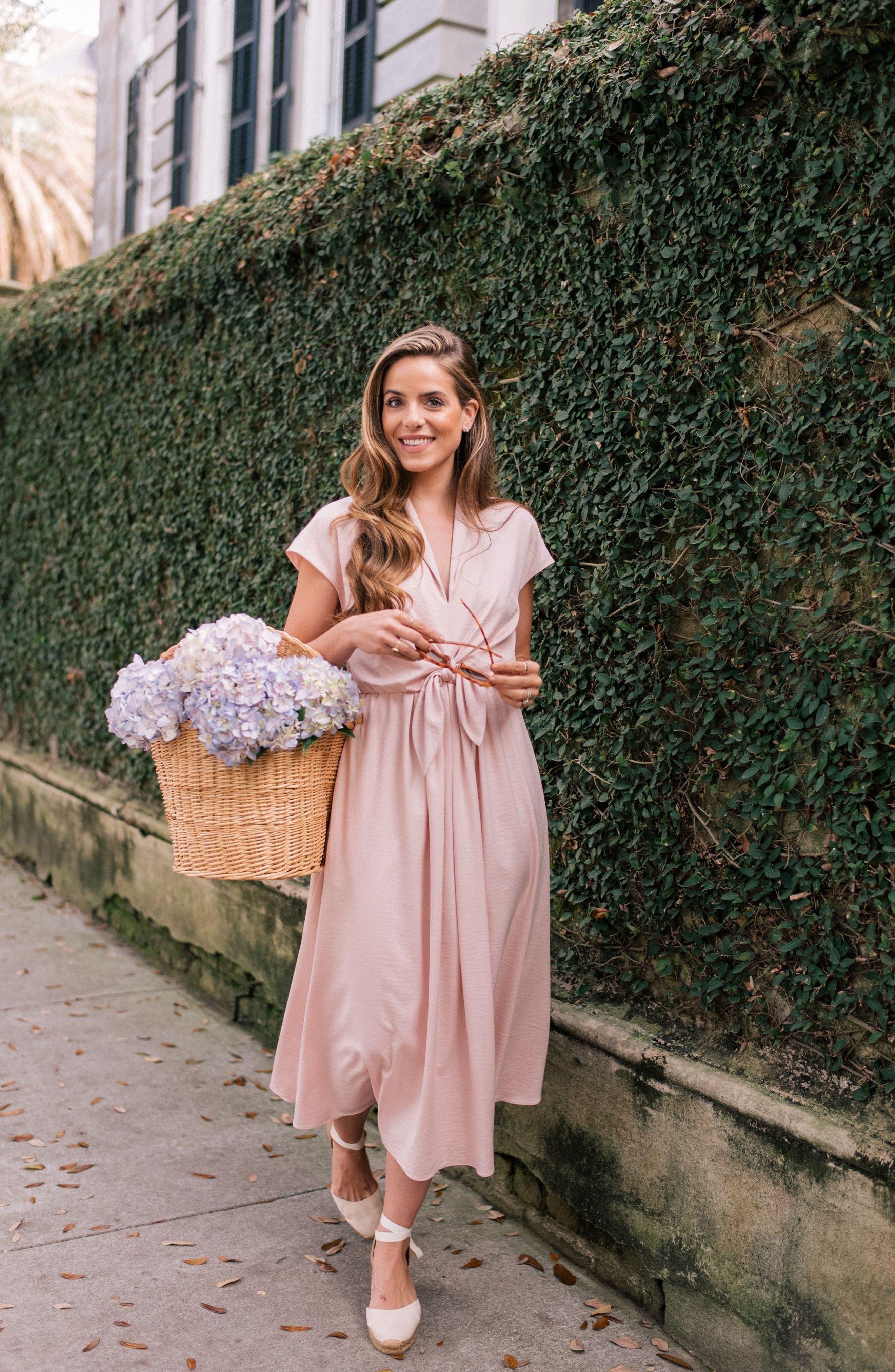 Margie Tie Waist Satin Midi Dress,                             Alternate thumbnail 9, color,                             NAVY