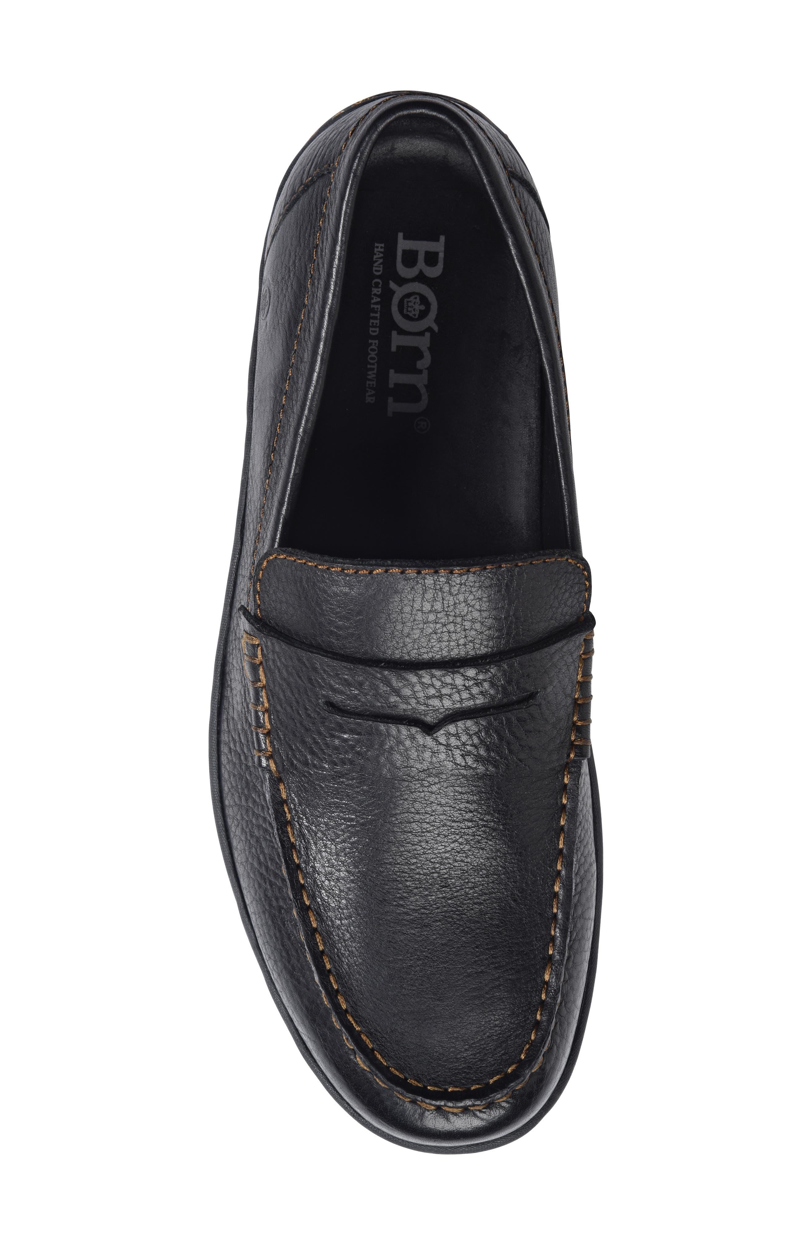 Simon II Driving Shoe,                             Alternate thumbnail 5, color,                             BLACK LEATHER