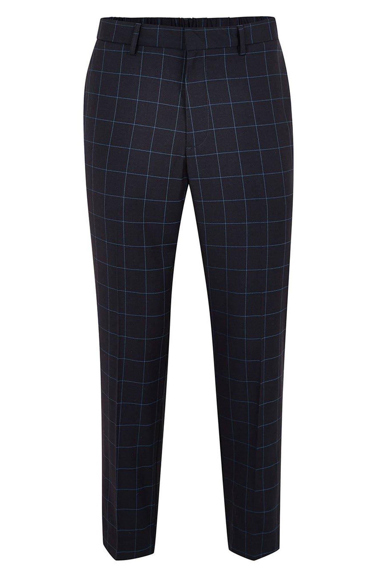 Slim Fit Grid Check Crop Pants,                             Alternate thumbnail 4, color,                             NAVY BLUE