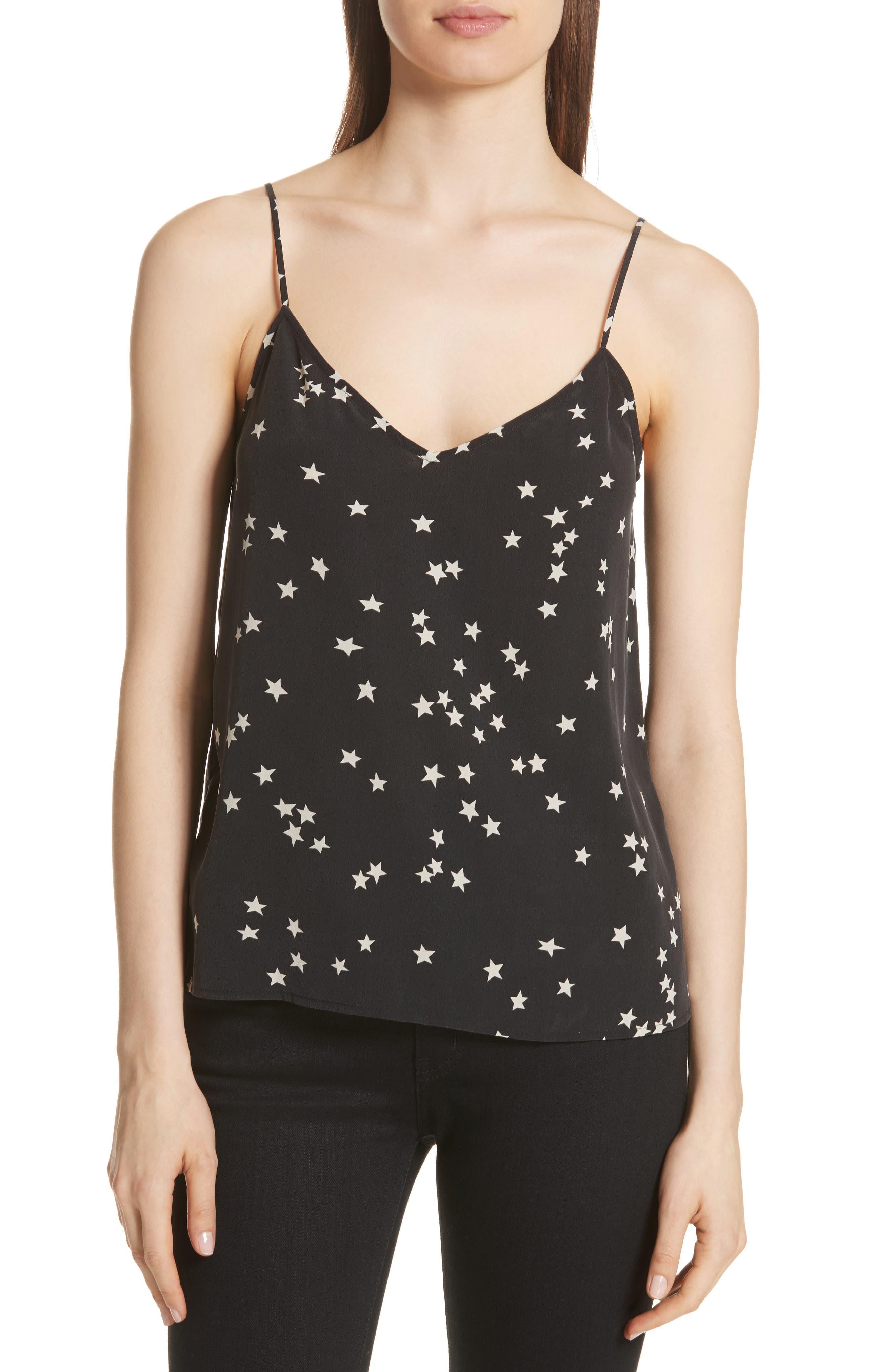 Layla Star Print Silk Camisole,                         Main,                         color, 001