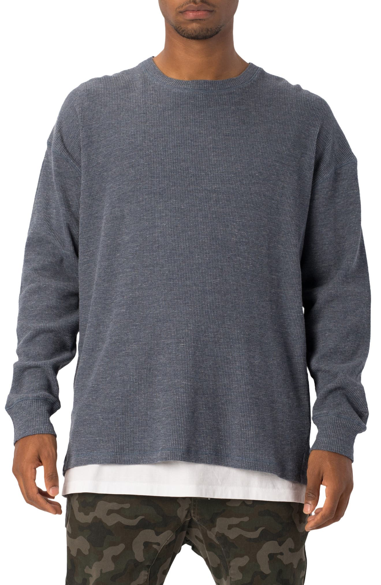Rugger Waffle Knit Long Sleeve T-Shirt,                             Main thumbnail 1, color,                             DENIM MARLE